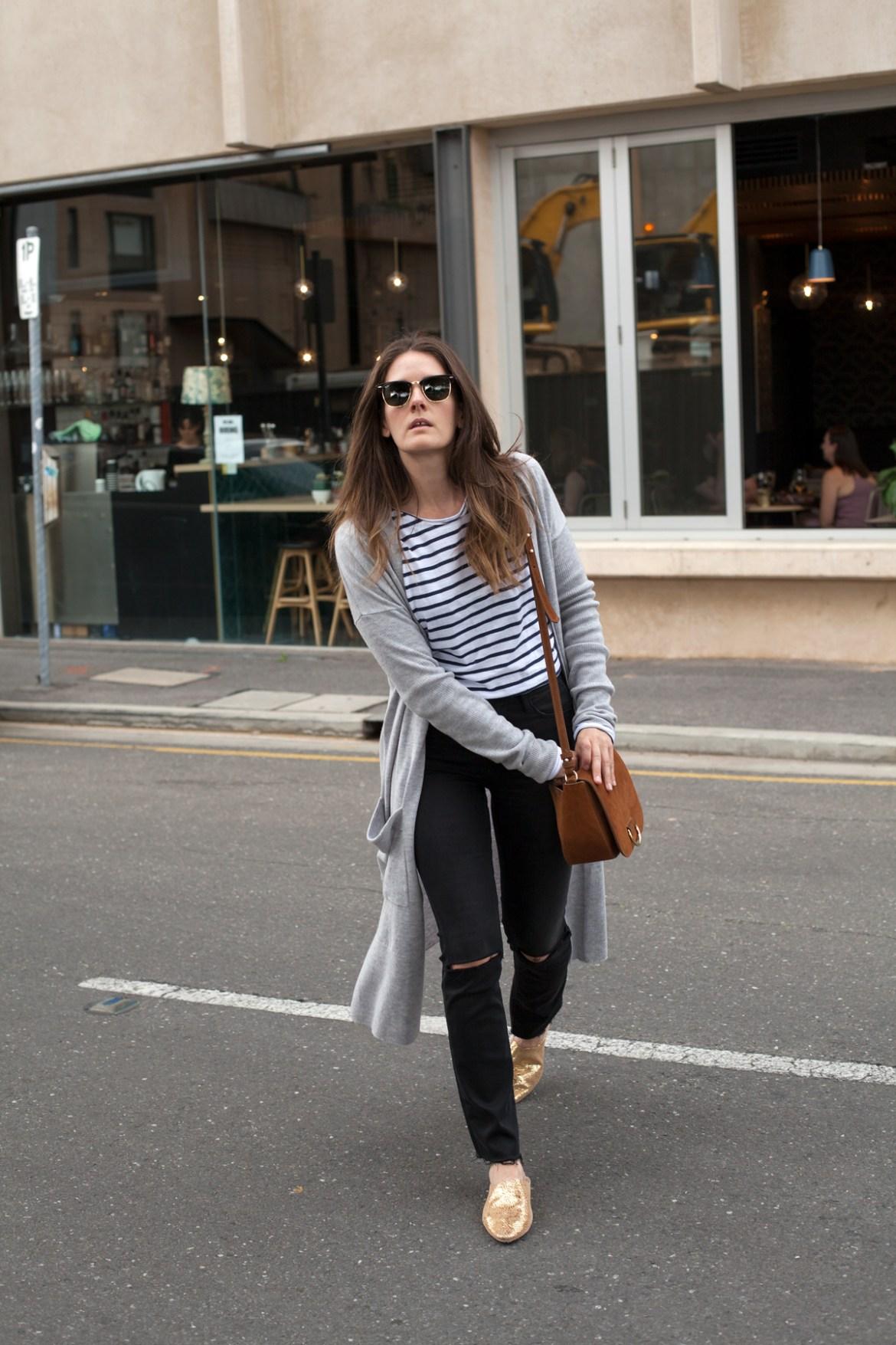 Sassind gold leather babouche slides, grey longline merino cardigan, striped tee, Frame denim jeans worn by Inspiring Wit fashion blogger Jenelle