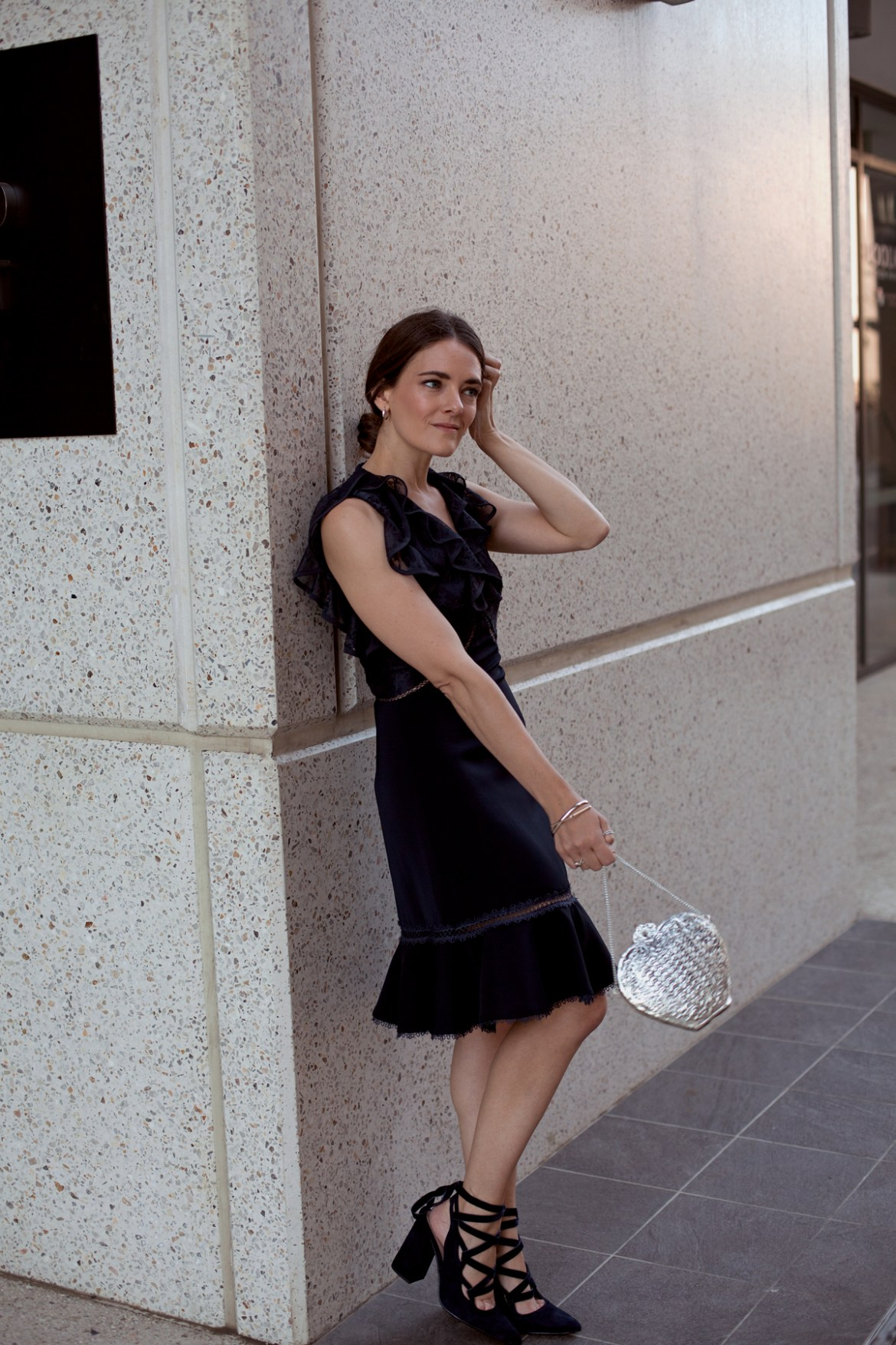 Keepsake the label Dreamscape lace navy dress from Fashion BNKR, perfect for the holiday season, worn by Inspiring Wit blogger Jenelle Witty