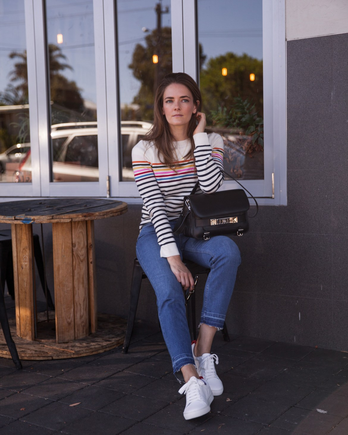 Boden summer 2018 new season jeans, white sneakers and cashmere stripe knit top and PS11 bag worn by Inspiring Wit blogger Jenelle Witty