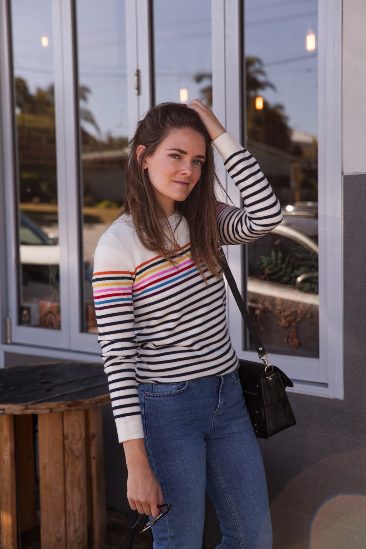 Boden summer 2018 new season jeans, cashmere stripe knit top worn by Inspiring Wit blogger Jenelle Witty
