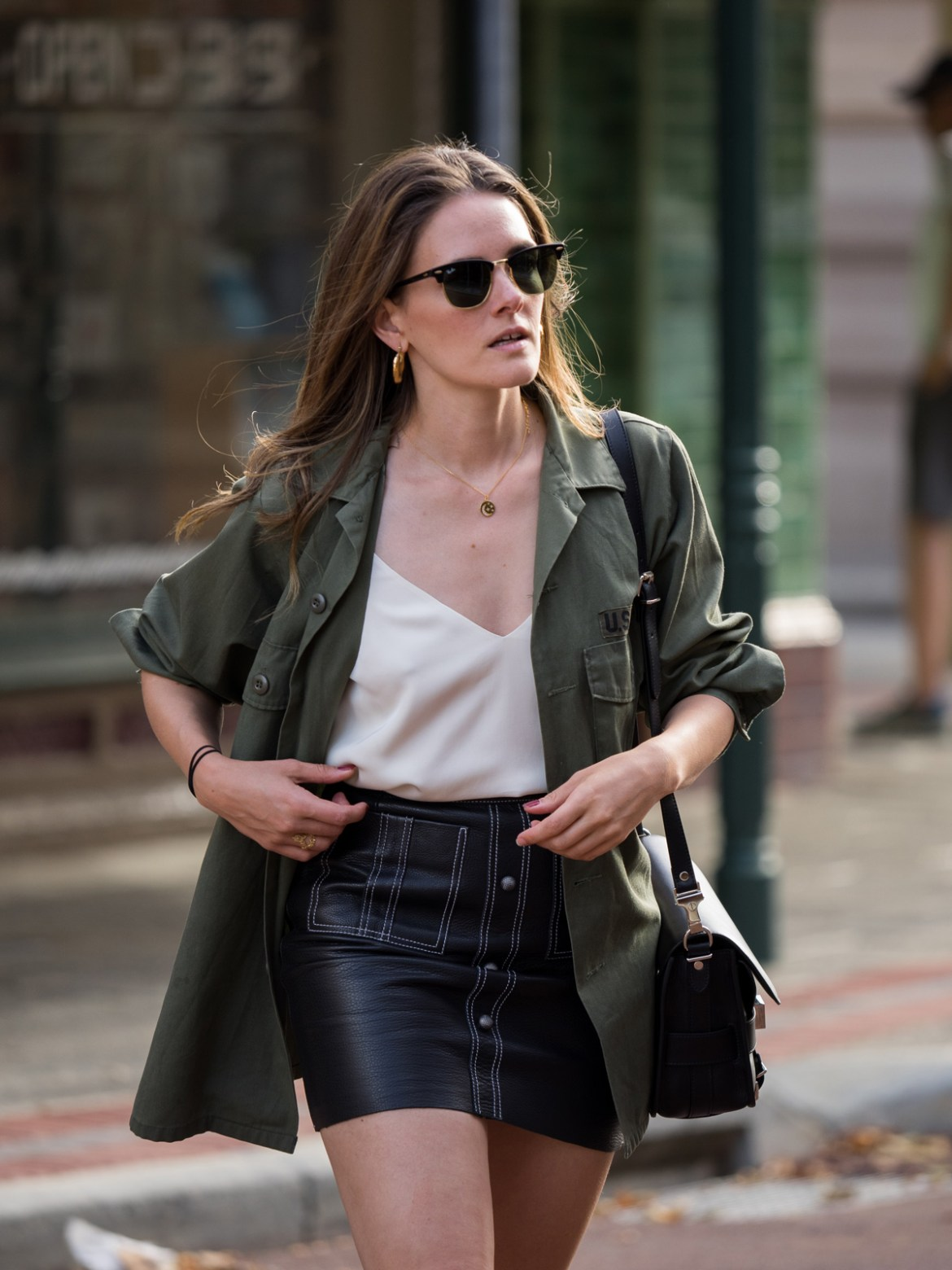 Aje leather mini skirt with army jacket worn by Jenelle Witty of Inspiring Wit fashion blog
