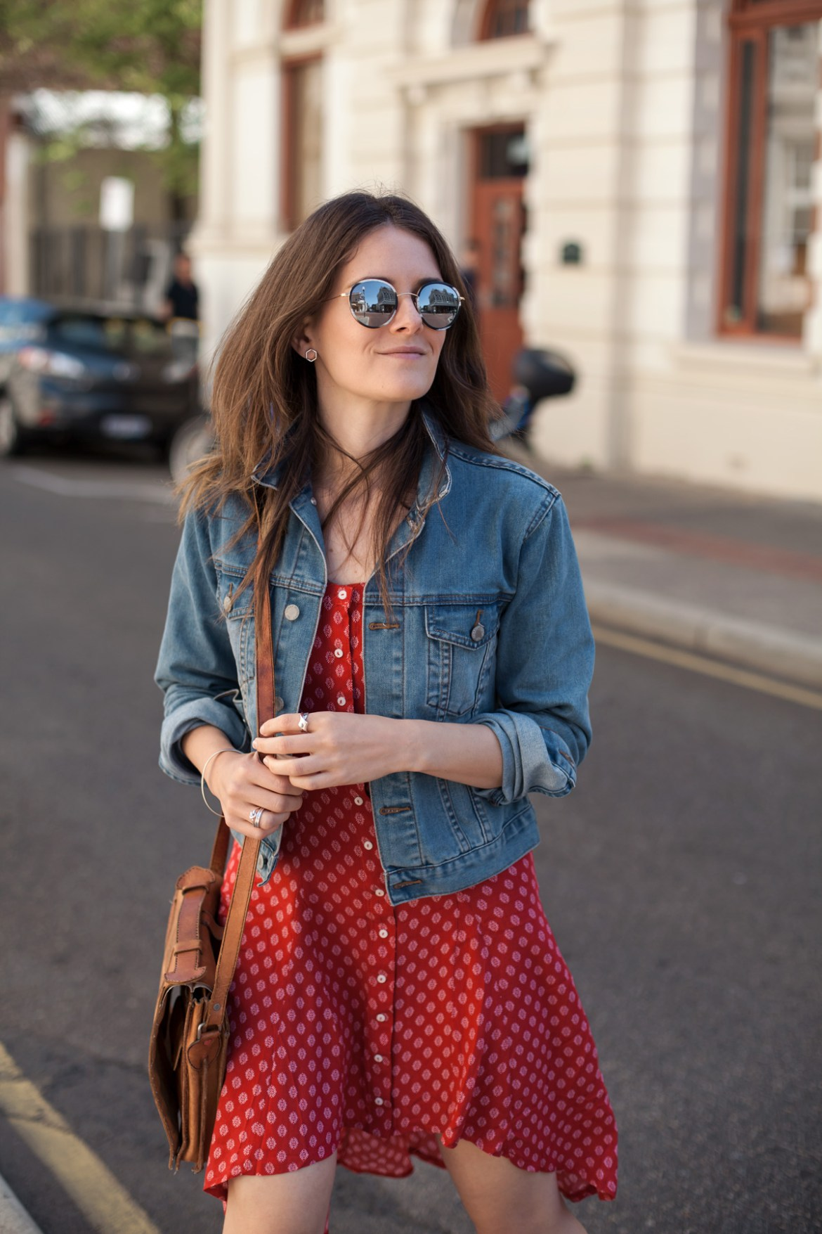 A summer outfit I wore in Perth for lunch with a printed red dress and denim jacket. Shared on my blog post about driving traffic to your website with Pinterest