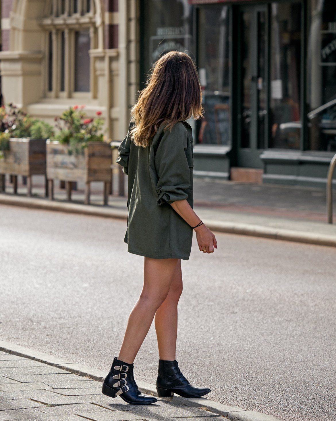Toga boots and army jacket worn by Jenelle Witty of Inspiring Wit fashion and travel blog in Fremantle