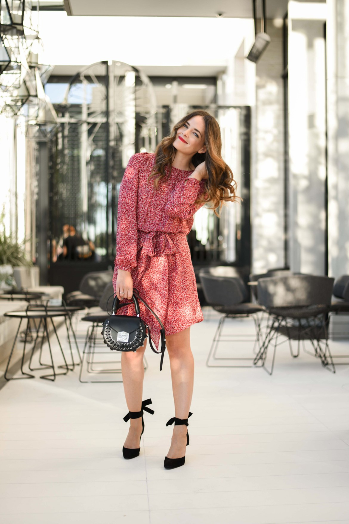 Saba Daphne silk red dress worn by Australian fashion blogger Inspiring Wit with Salar black bag, red lipstick and soft wavy hair at TWR in Crown Perth