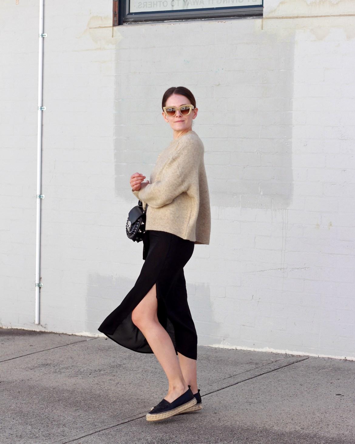 Jac + Jack camel knit worn with Salar Milano bag, espadrilles and black slip dress by Inspiring Wit fashion blogger Jenelle