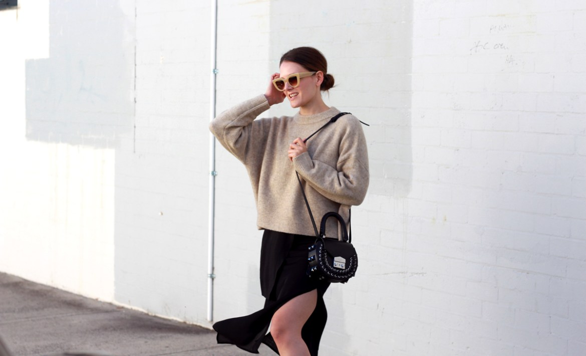 Jac + Jack camel knit worn with Salar Milano bag and black slip dress by Inspiring Wit fashion blogger Jenelle