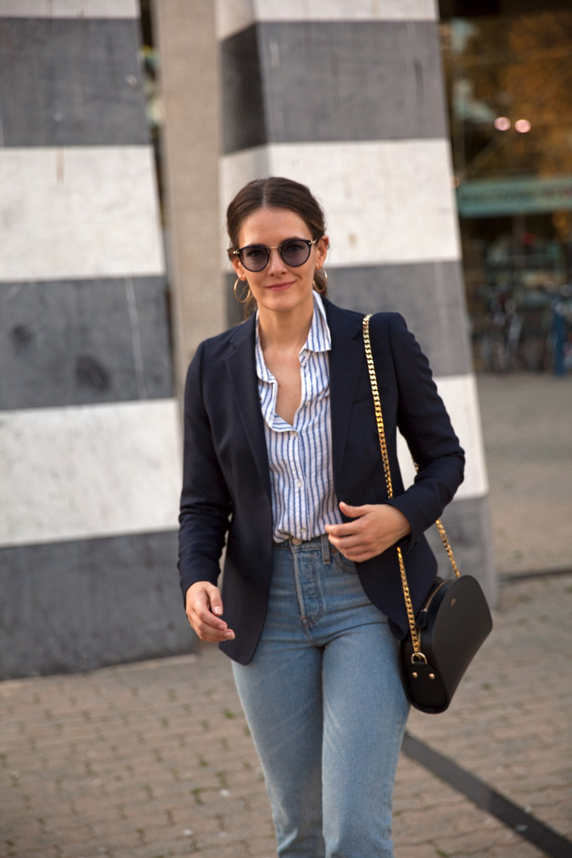 Transitions Colours Lenses in Sapphire worn with navy blazer, A.P.C half moon bag Levi's jeans by Inspiring Wit blogger Jenelle street style