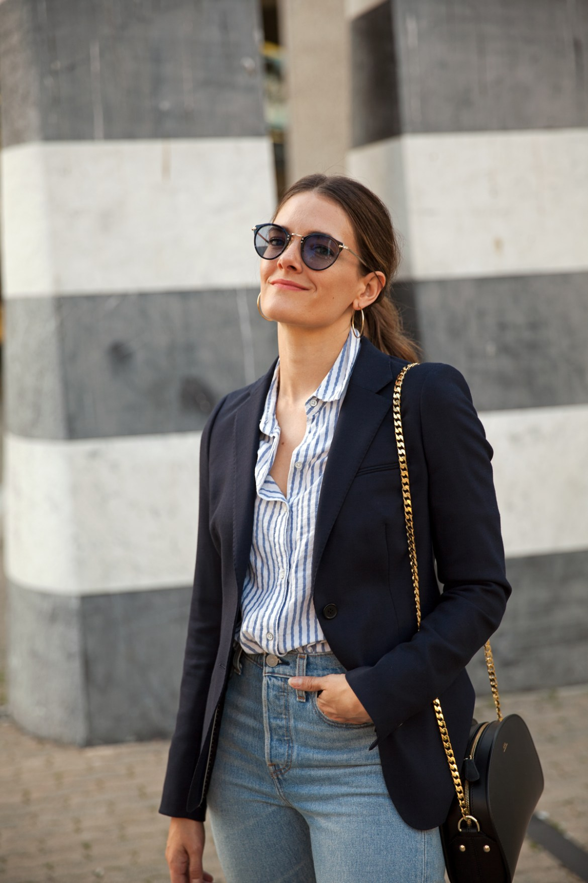 Transitions Colours Lenses in Sapphire worn with navy blazer, Levi's jeans by Inspiring Wit blogger Jenelle street style
