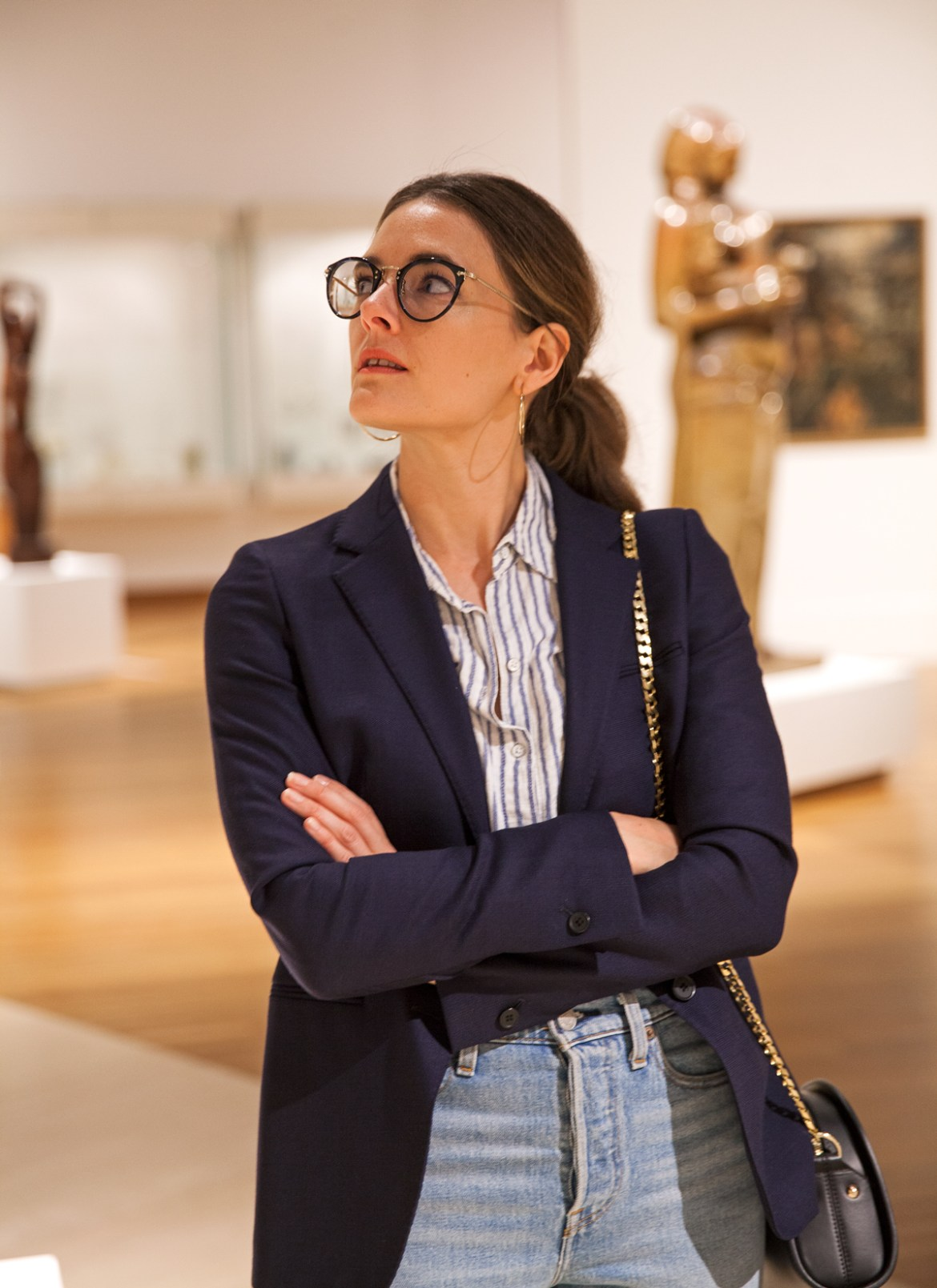 Essilor Transitions Colours Lenses worn with navy blazer, Levi's jeans by Inspiring Wit blogger Jenelle at the Art Gallery of WA