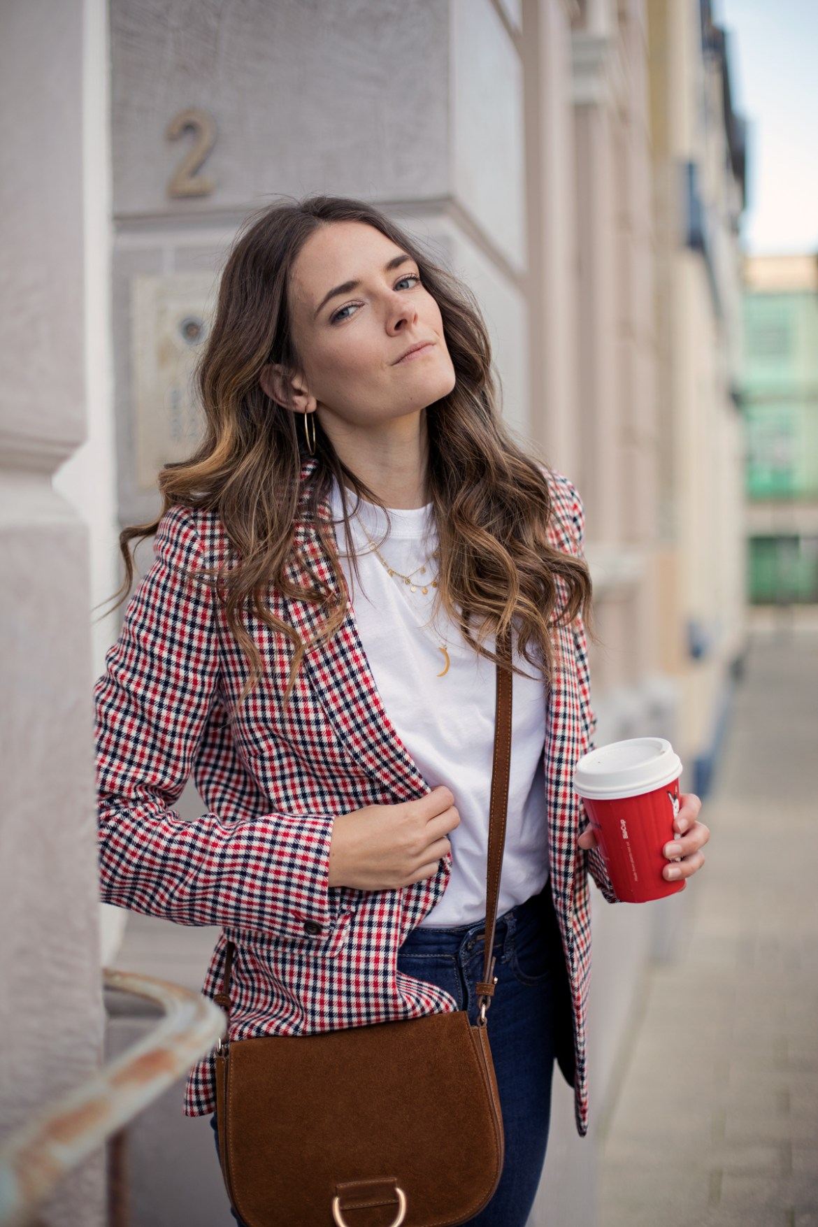 check blazer outfit idea the Boden Bramley check blazer worn by Australian fashion blogger Jenelle Witty of Inspiring Wit with jeans and white t-shirt and tan suede bag by Little Liffner