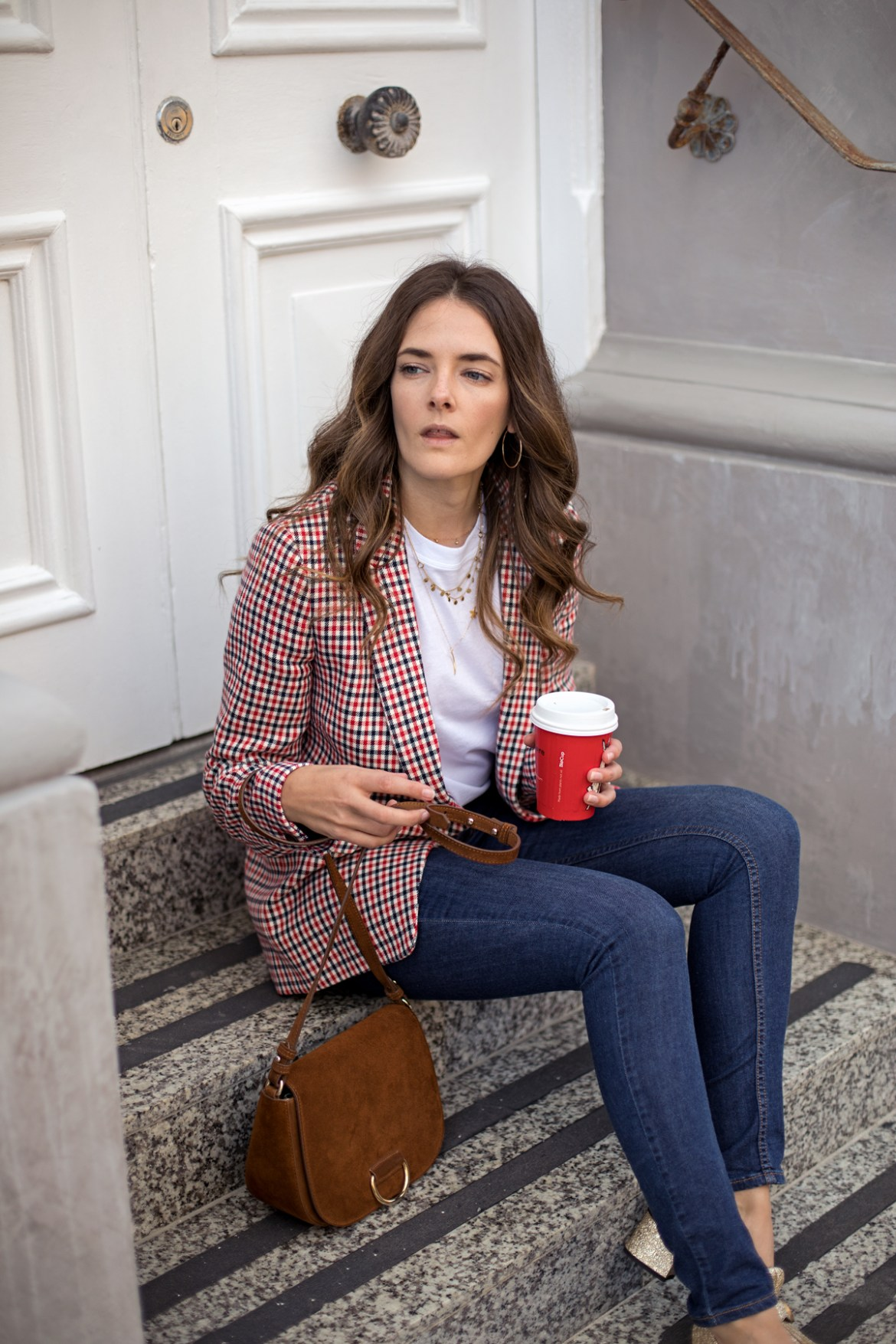check blazer outfit idea Boden Bramley check blazer worn by Australian fashion blogger Jenelle Witty of Inspiring Wit with jeans and white t-shirt