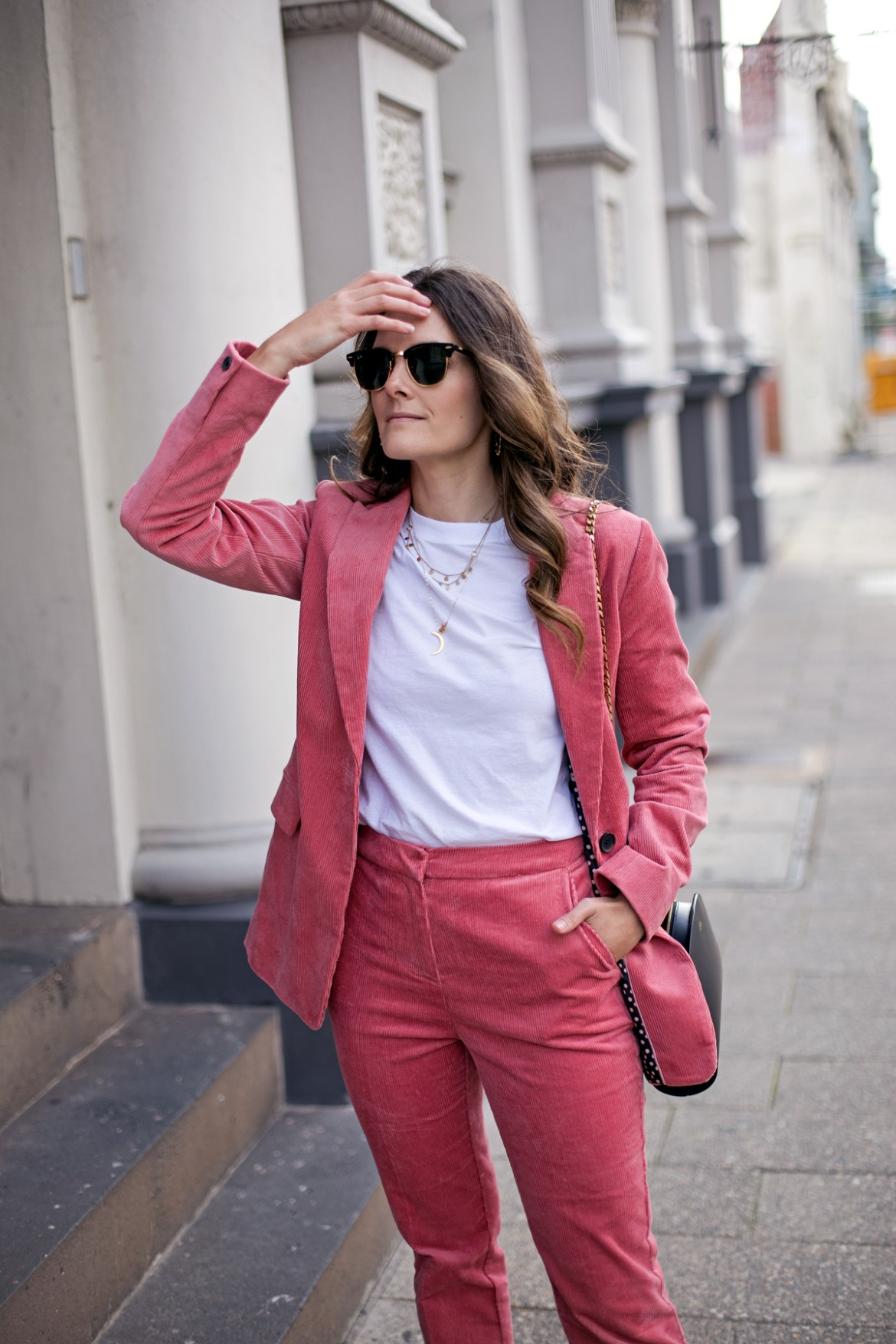 Boden Oxshott corduroy blazer in blush pink worn by fashion blogger from Australia Jenelle Witty of Inspiring Wit with Ray-Ban sunglasses
