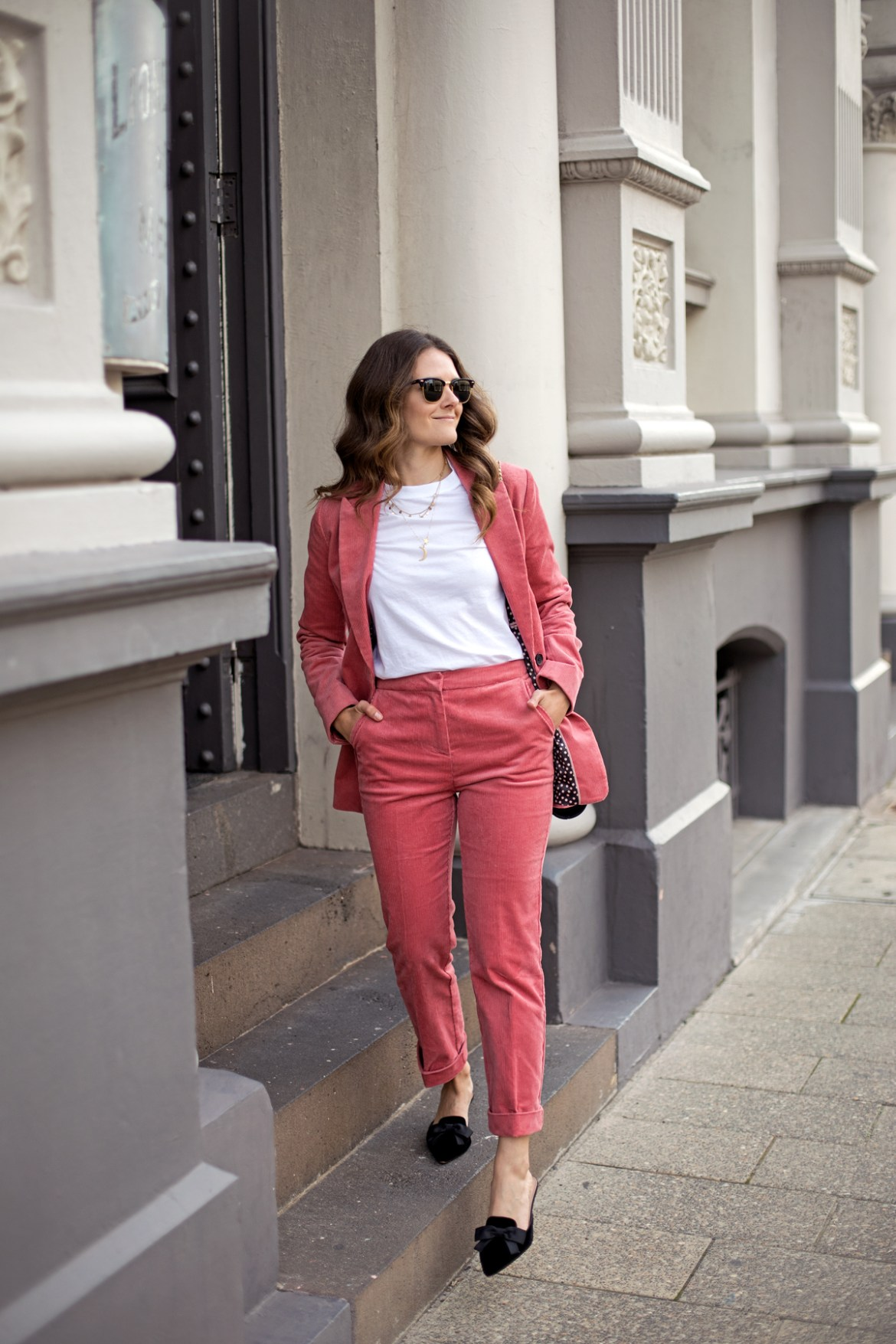 Boden Oxshott corduroy suit blazer and straight leg pants in blush pink worn by fashion blogger from Australia Jenelle Witty of Inspiring Wit Ray-ban sunglasses