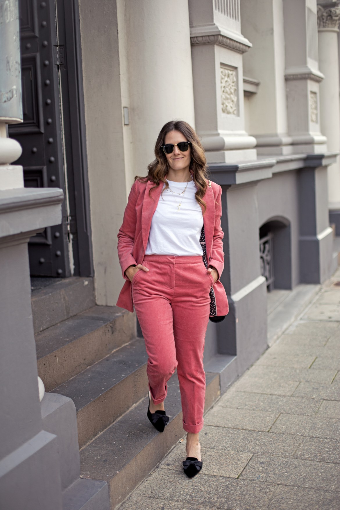 Boden Oxshott corduroy suit blazer and straight leg pants in blush pink worn by fashion blogger from Australia Jenelle Witty of Inspiring Wit