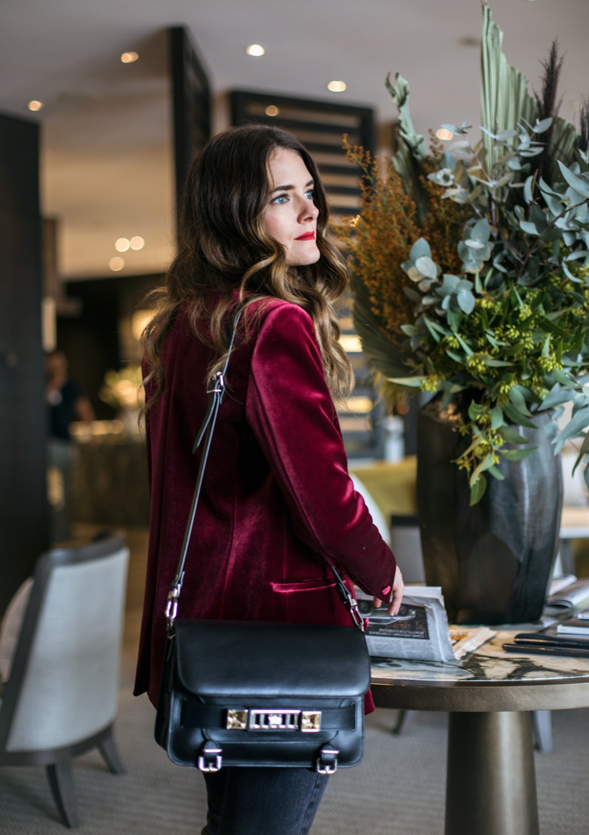 The Westin Perth executive lounge Jenelle from Inspiring Wit wearing velvet and Proenza Schouler PS11 bag