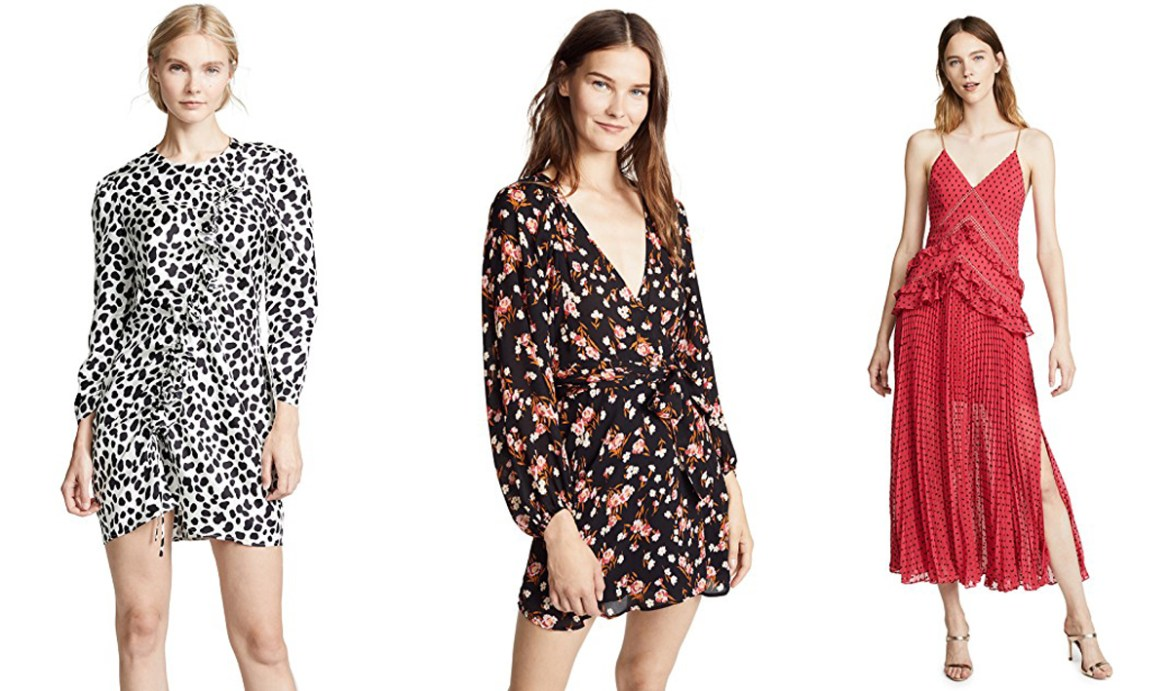 wishlist on Shopbop printed dresses from Rixo London, A.L.C. and Self Portrait from Inspiring Wit blog