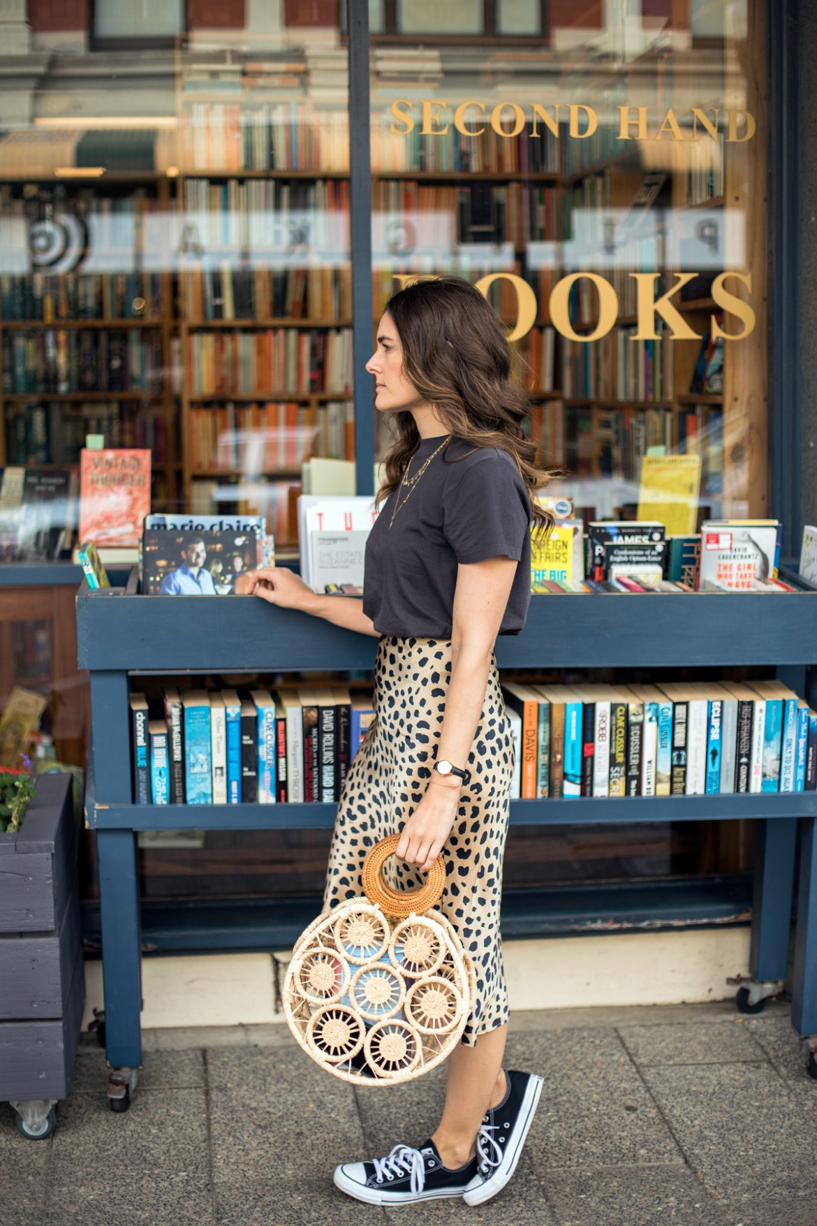 spring or fall outfit idea - Realisation Par Naomi Wild Things Leopard print skirt and Cult Gaia bag with Converse outfit worn by Inspiring Wit fashion blogger Jenelle Witty