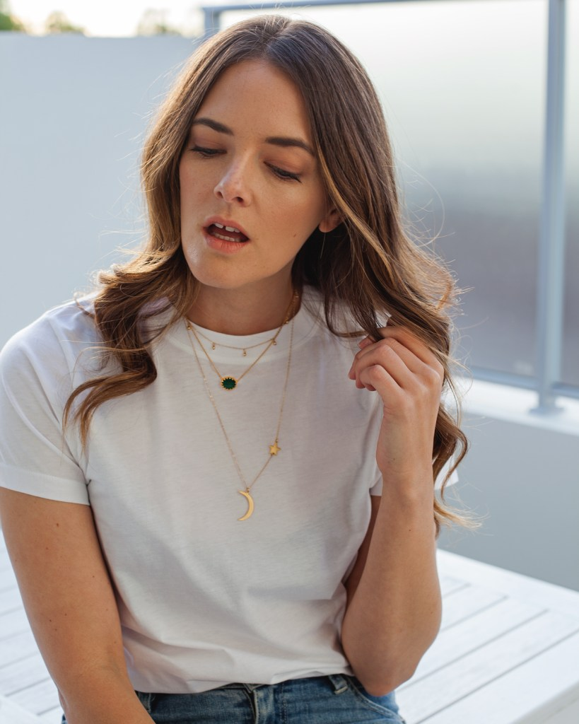 Fashion and lifestyle blogger Jenelle Witty from Inspiring Wit in Jac + Jack white t-shirt and Astley Clarke necklace