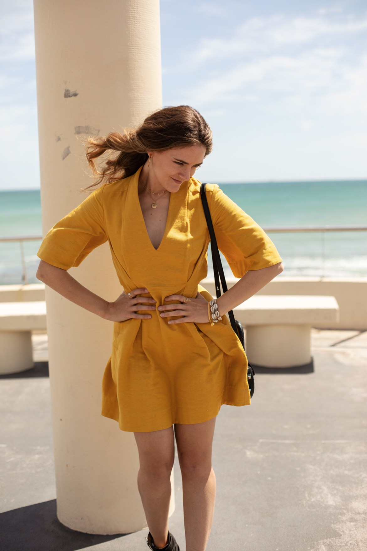 Pfieffer the label tumeric yellow dress worn by fashion blogger Inspiring Wit