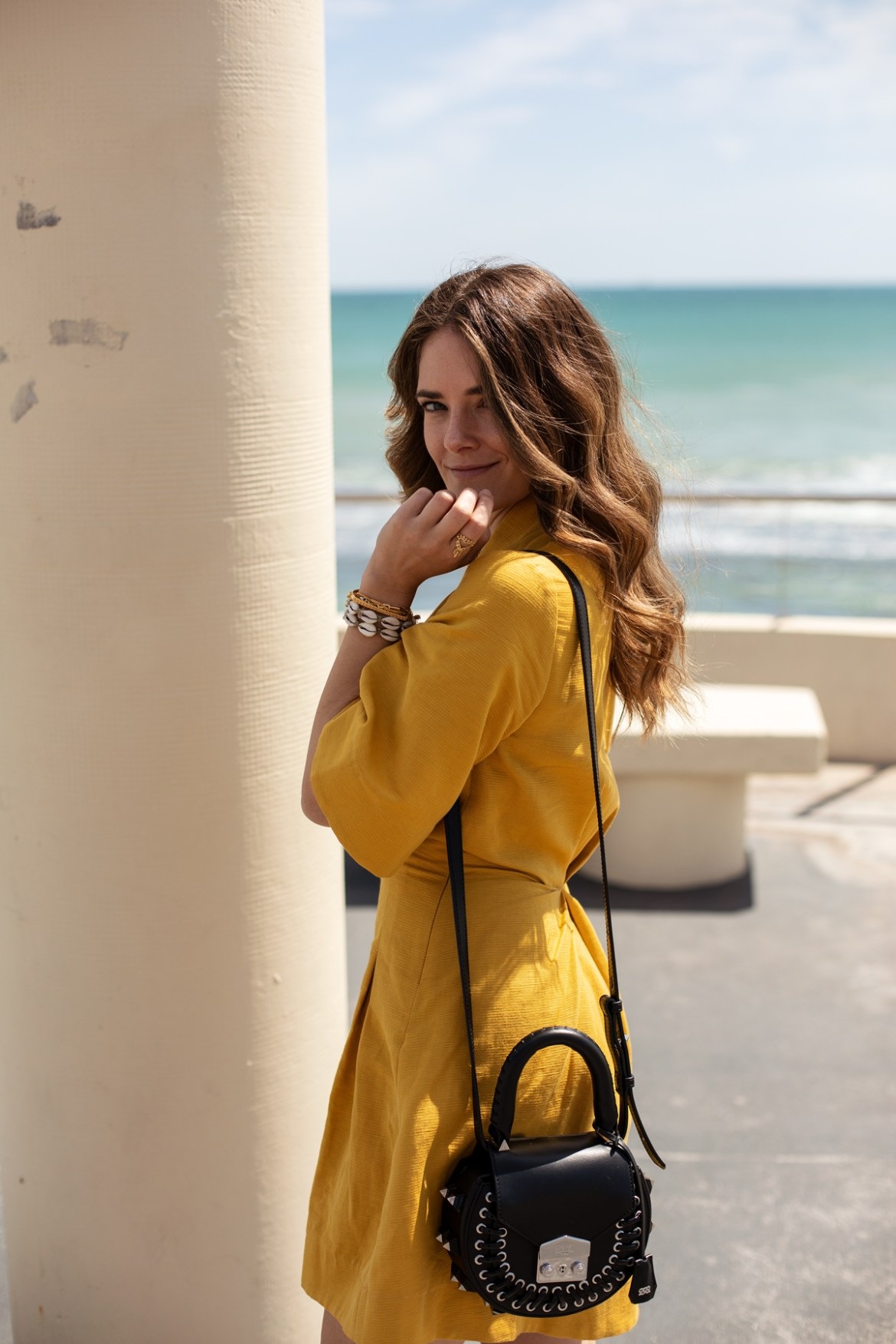 Pfeiffer the label dress in mustard worn by Australian fashion blogger Jenelle Witty from Inspiring Wit with Salar Milano bag