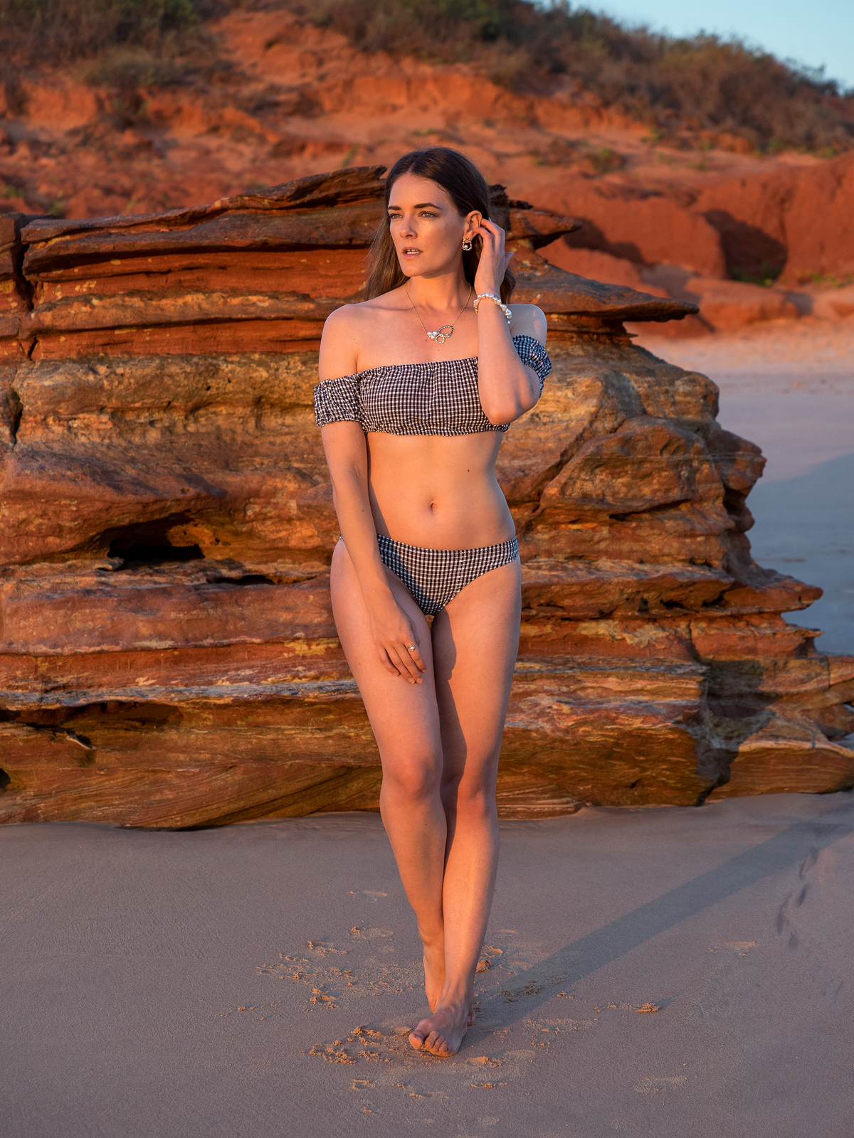 Allure South Sea Pearls Broome Inspiring Wit fashion blogger Jenelle Witty at Reddell Beach wearing gingham swim set
