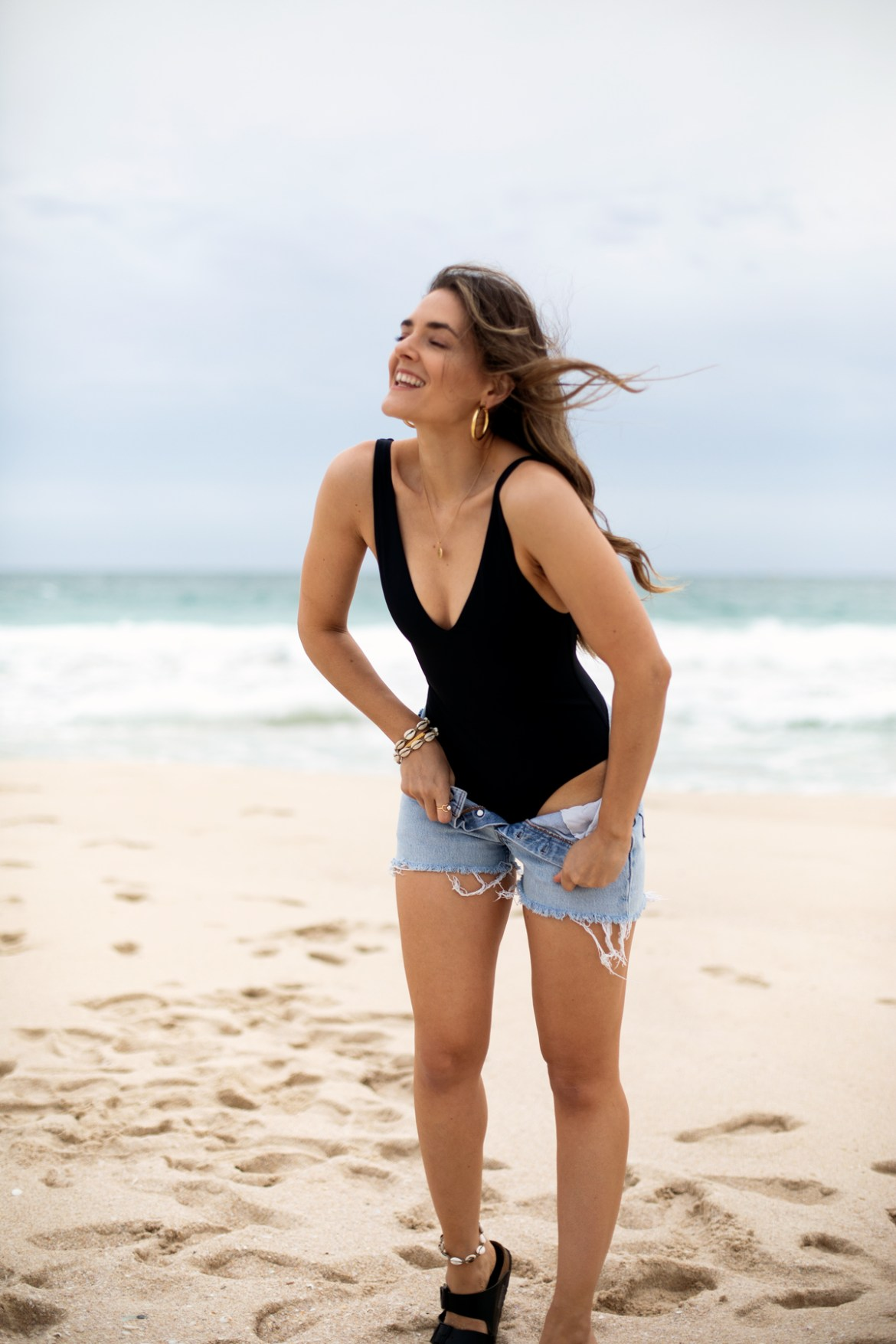 Her Line swimwear Ester one piece coal black worn by fashion blogger Jenelle Witty from Inspiring Wit