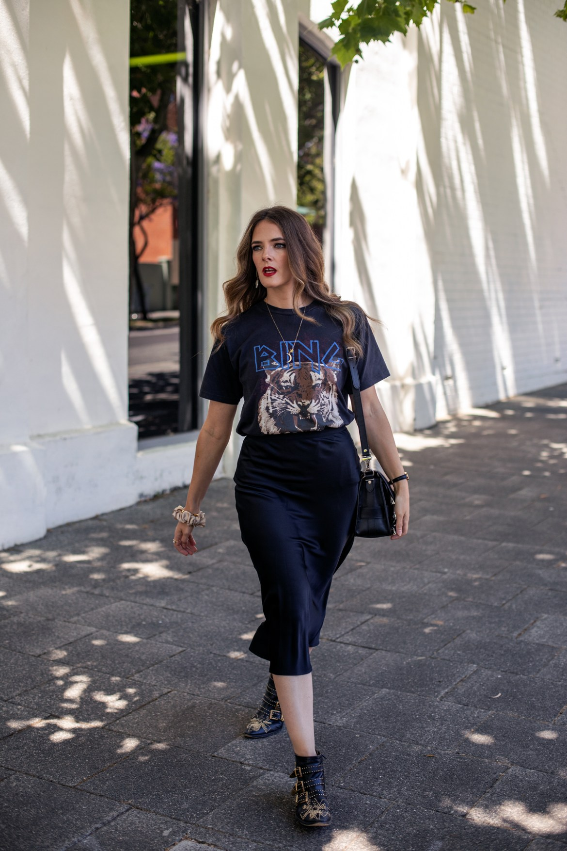 Anine Bing vintage tee with lion print and silk slip skirt worn with Chloe studded boots and Proenza Schouler PS11 bag by fashion blogger Jenelle Witty from the blog Inspiring Wit