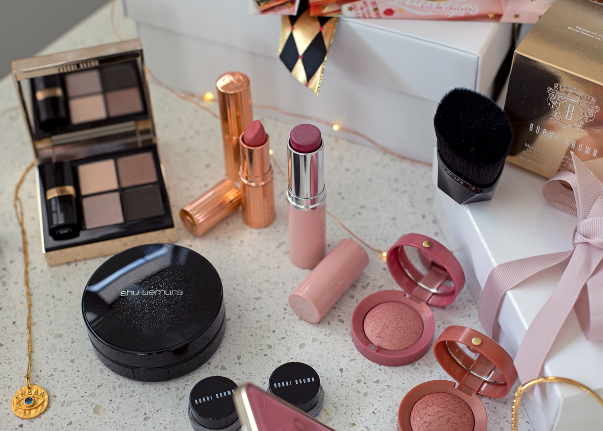 Beauty blog Christmas gift guide edit on Inspiring Wit with La Mer Bobbi Brown Too Faced Nars Shu Uemura Charlotte Tilbury and Lanolips
