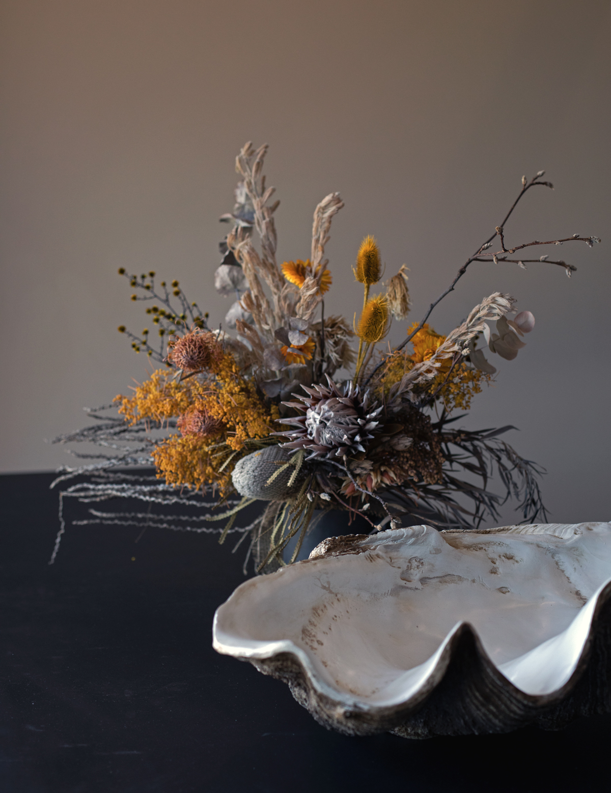 details at Bohemian Traders HQ shell and dried flowers