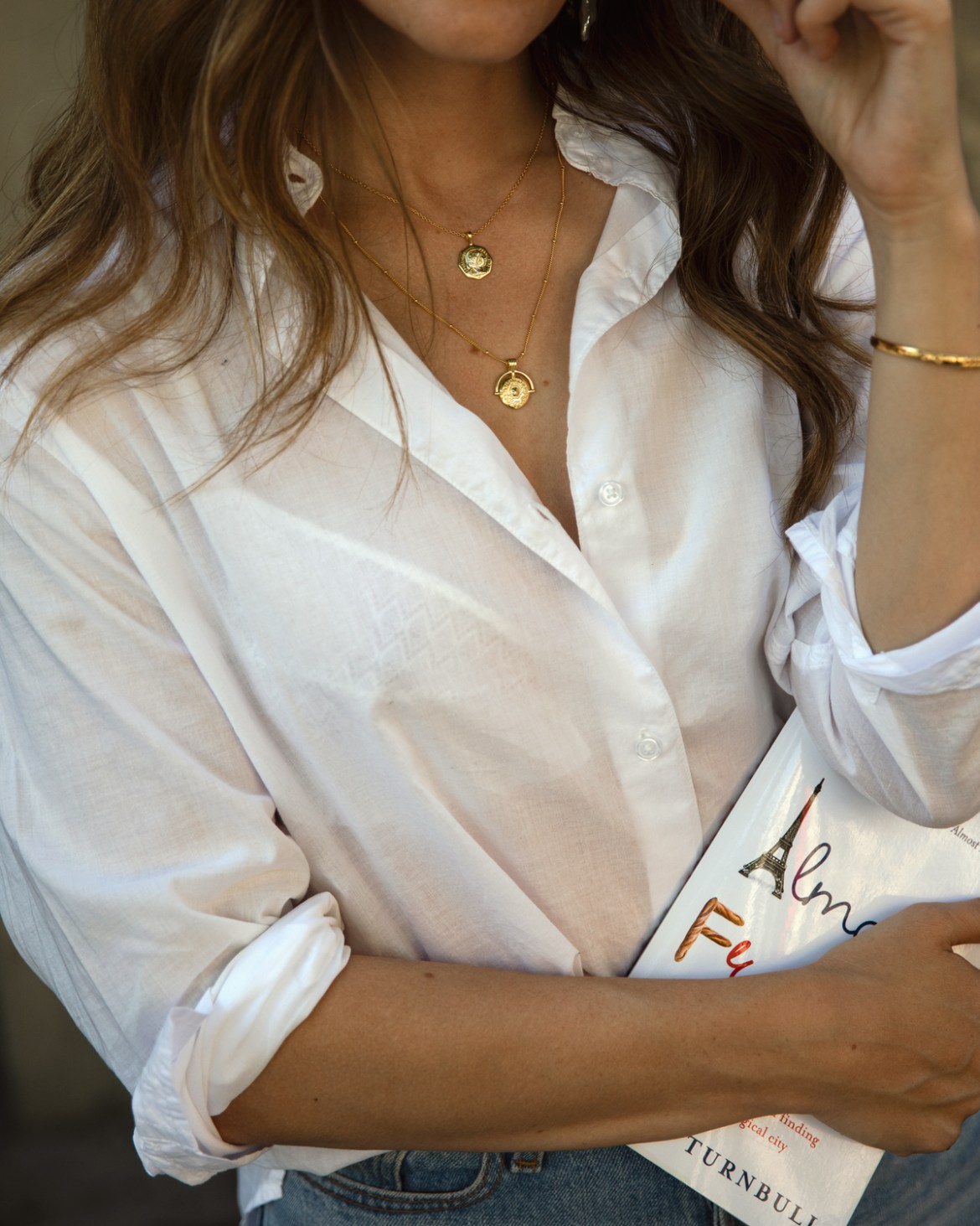 White Jac + Jack oversized shirt with Scada gold necklace layers worn by Australian fashion blogger Jenelle Witty from Inspiring Wit
