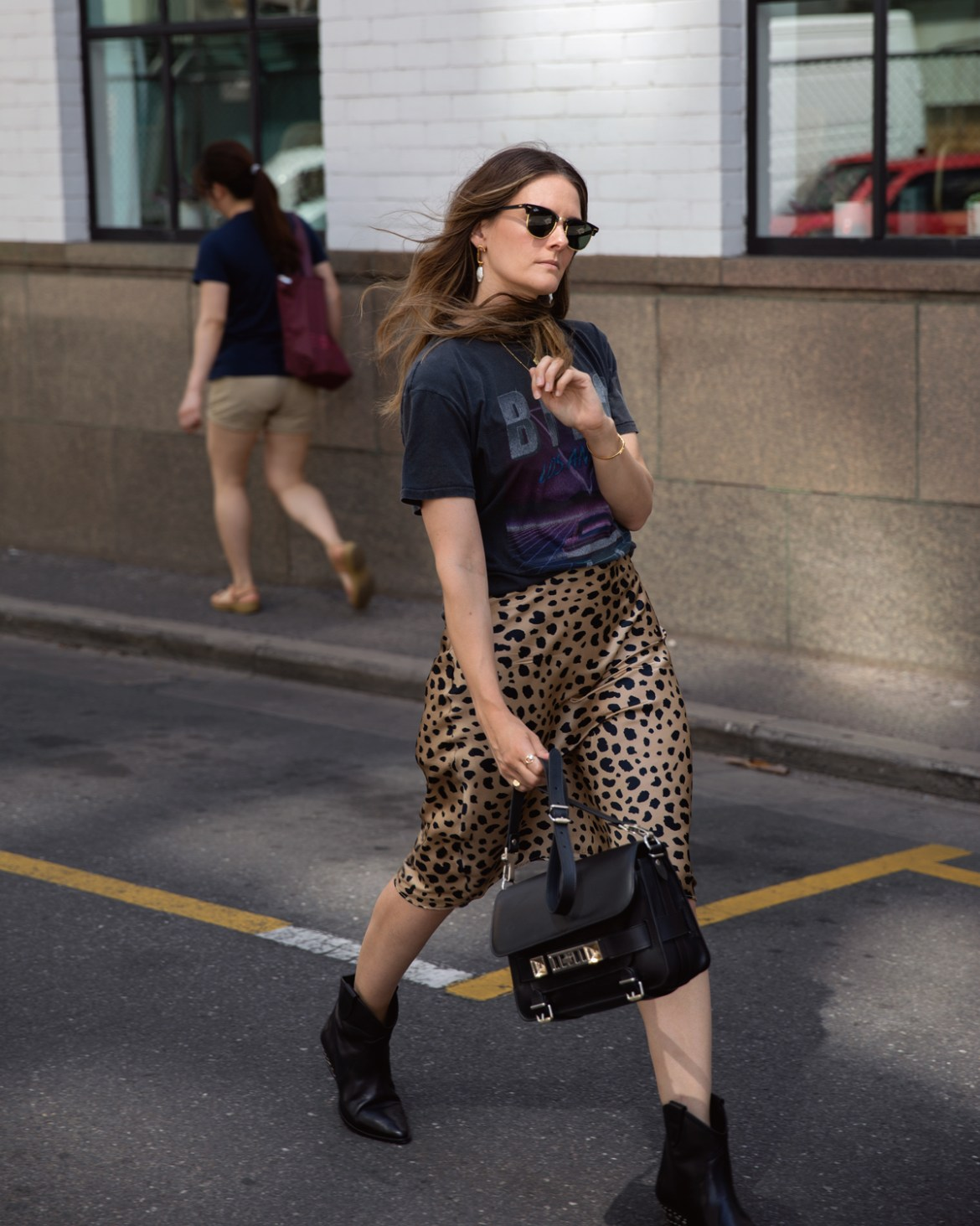 Anine Bing viper vintage tee with Realisation Par Naomi Wild things skirt Isabel Marant boots and Proenza Schouler PS11 bag worn by Jenelle Witty from Australian travel and fashion blog Inspiring Wit