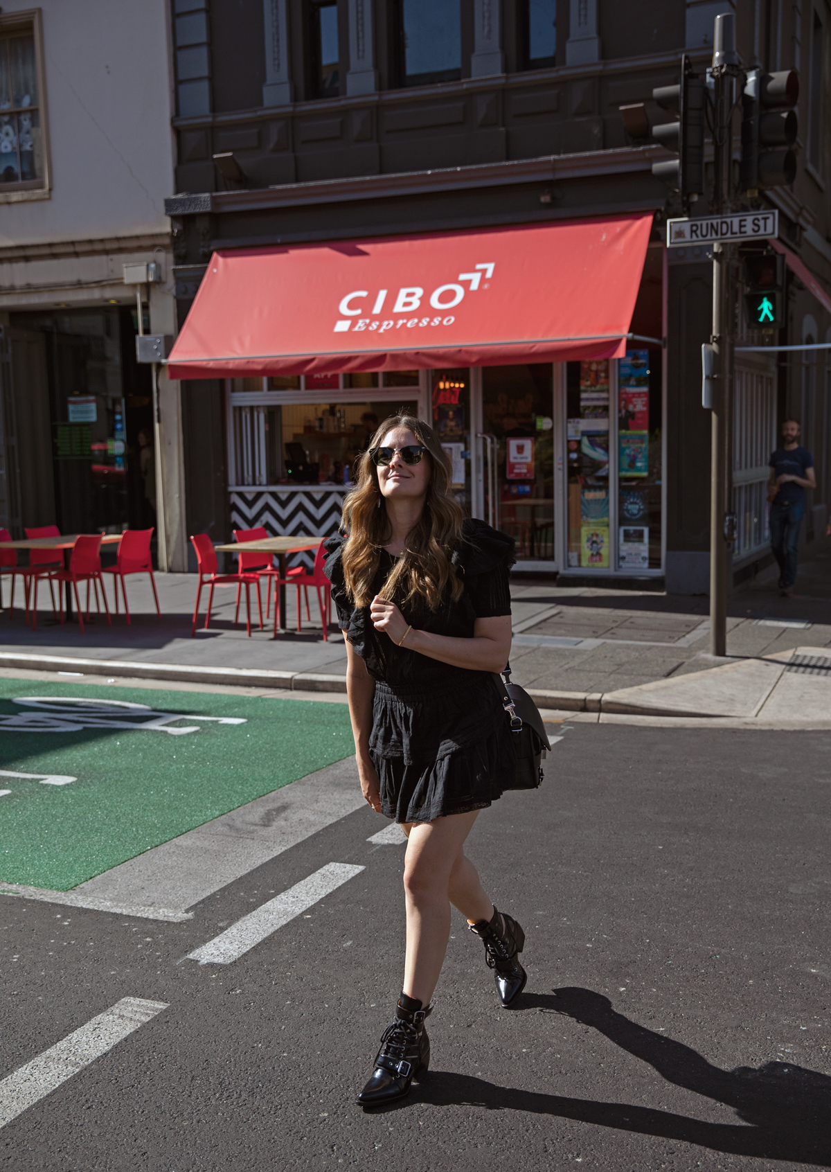 Loveshackfancy black Natasha dress worn with Chloe Rylee boots by fashion blogger Jenelle Witty from Inspiring Wit in Adelaide on Rundle Street