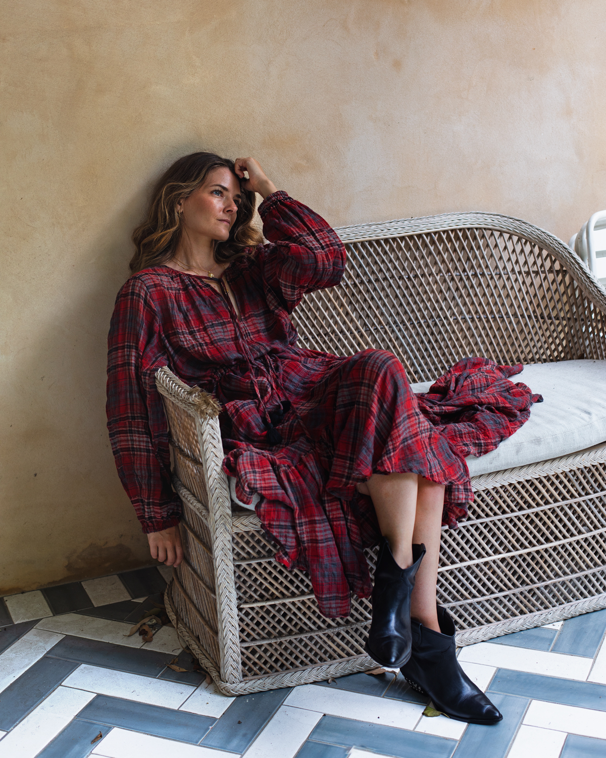 Bohemian Traders FIESTA MIDI DRESS IN BARBADOS CHERRY PLAID worn by Inspiring Wit fashion blogger Jenelle with Isabel Marant boots