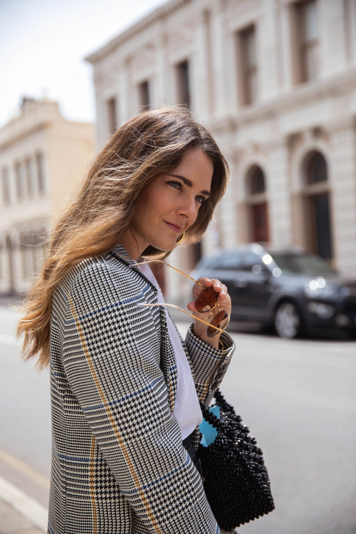 Anine Bing Madeline Blazer in check worn by Inspiring Wit with Shrimps beaded bag