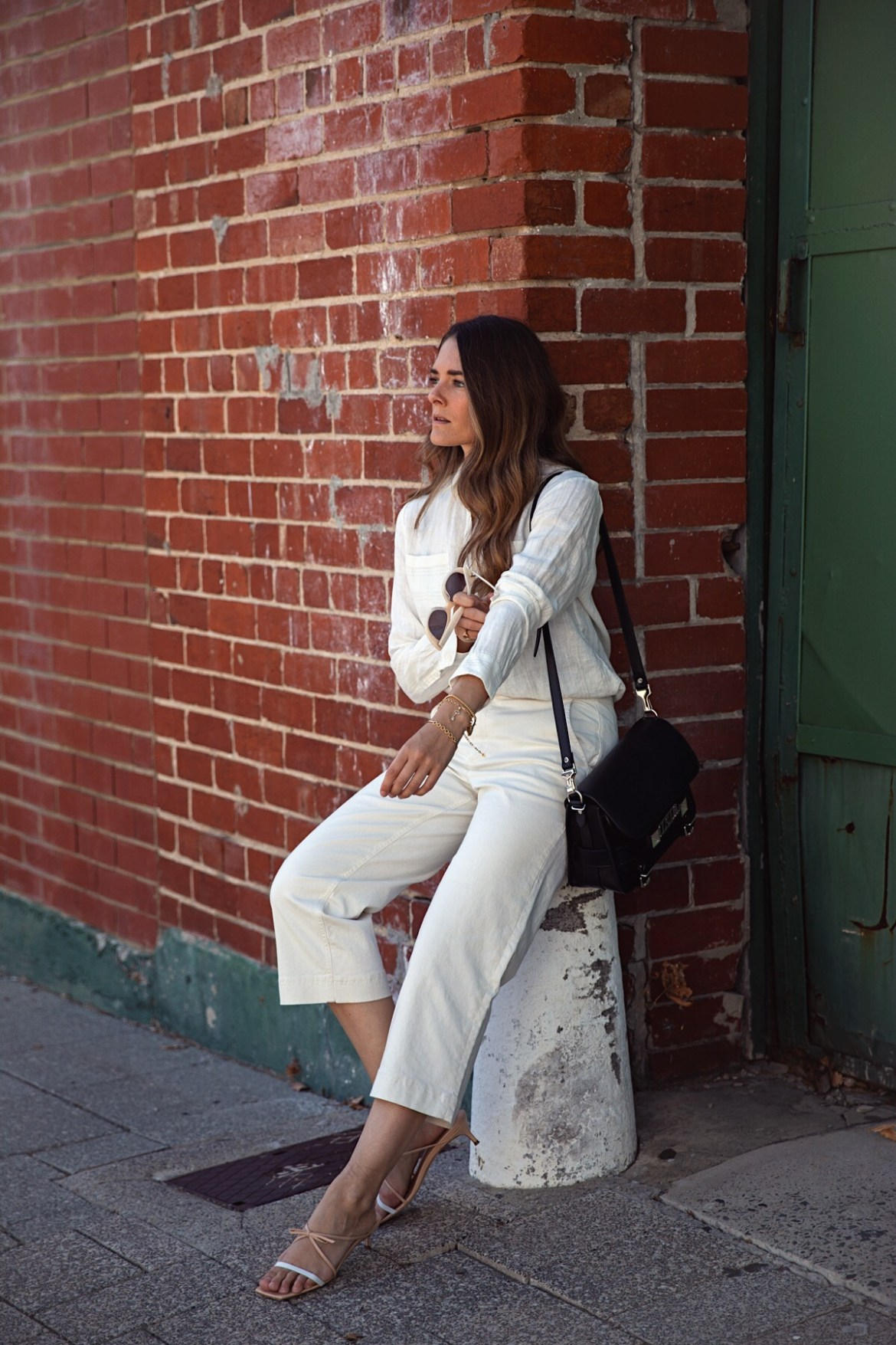 Boden cropped pants and white linen shirt outfit with By Far shoes worn by Inspiring Wit how to style cropped pants