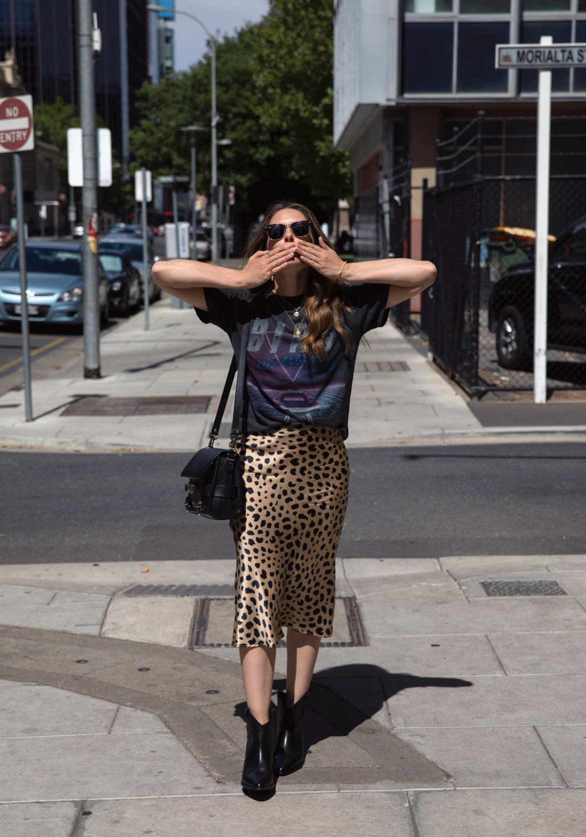 most worn Anine Bing viper vintage tee with Realisation Par Naomi Wild things skirt Isabel Marant boots and Proenza Schouler PS11 bag worn by Jenelle Witty from Australian travel and fashion blog Inspiring Wit