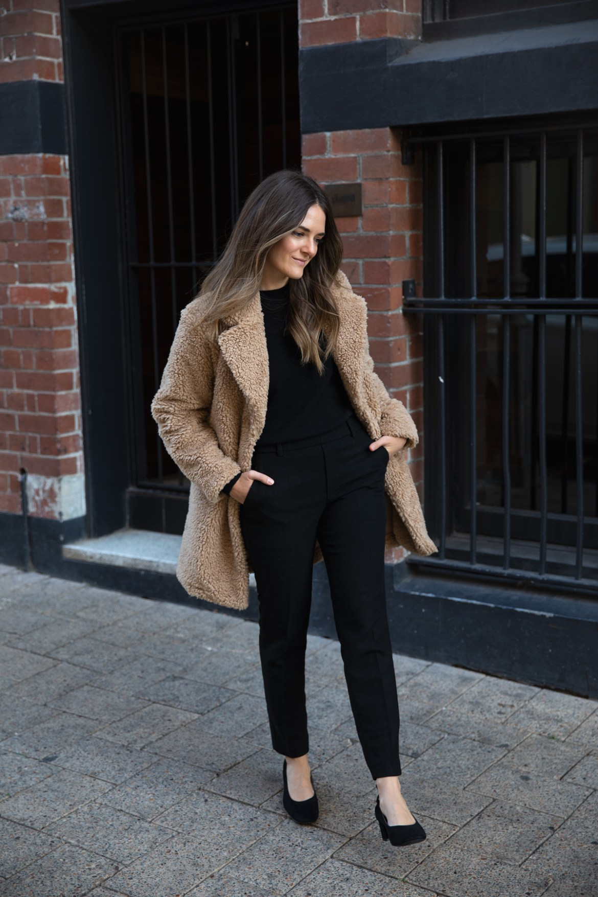 beige fleece teddy coat from Uniqlo with wool pants for Autumn Winter outfit ideas worn by Inspiring Wit fashion blogger Jenelle