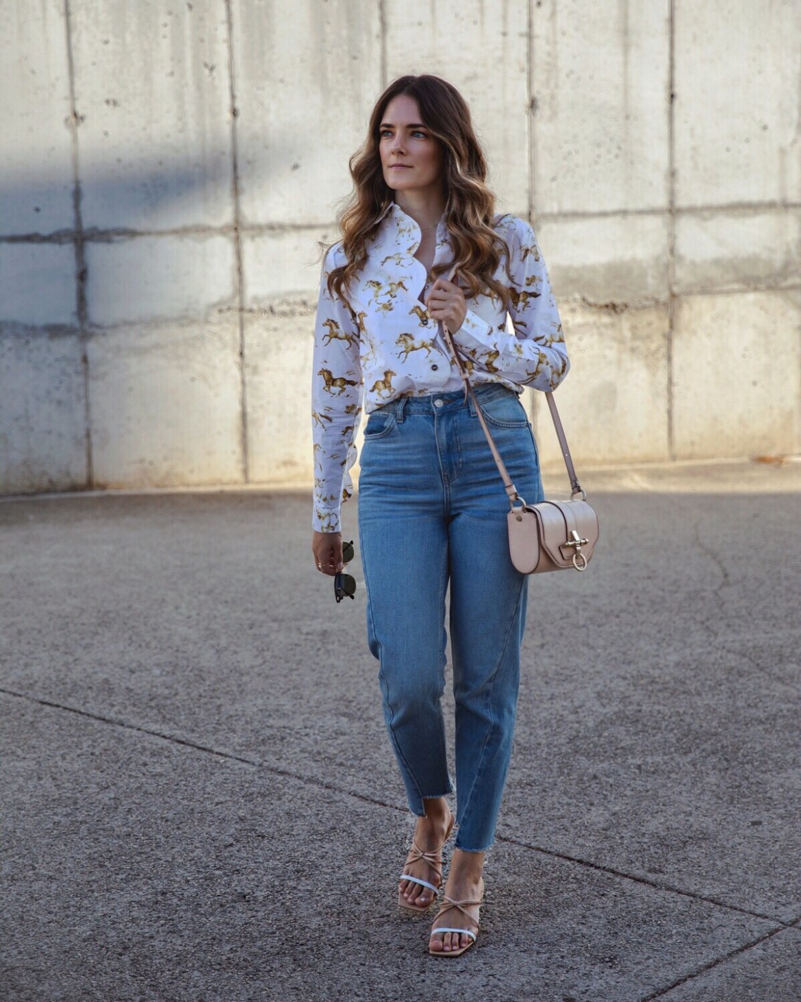 Ganni horse print shirt outfit with jeans and By Far sandal heels from Shopbop worn by fashion blogger Jenelle Witty from Australian blog Inspiring Wit