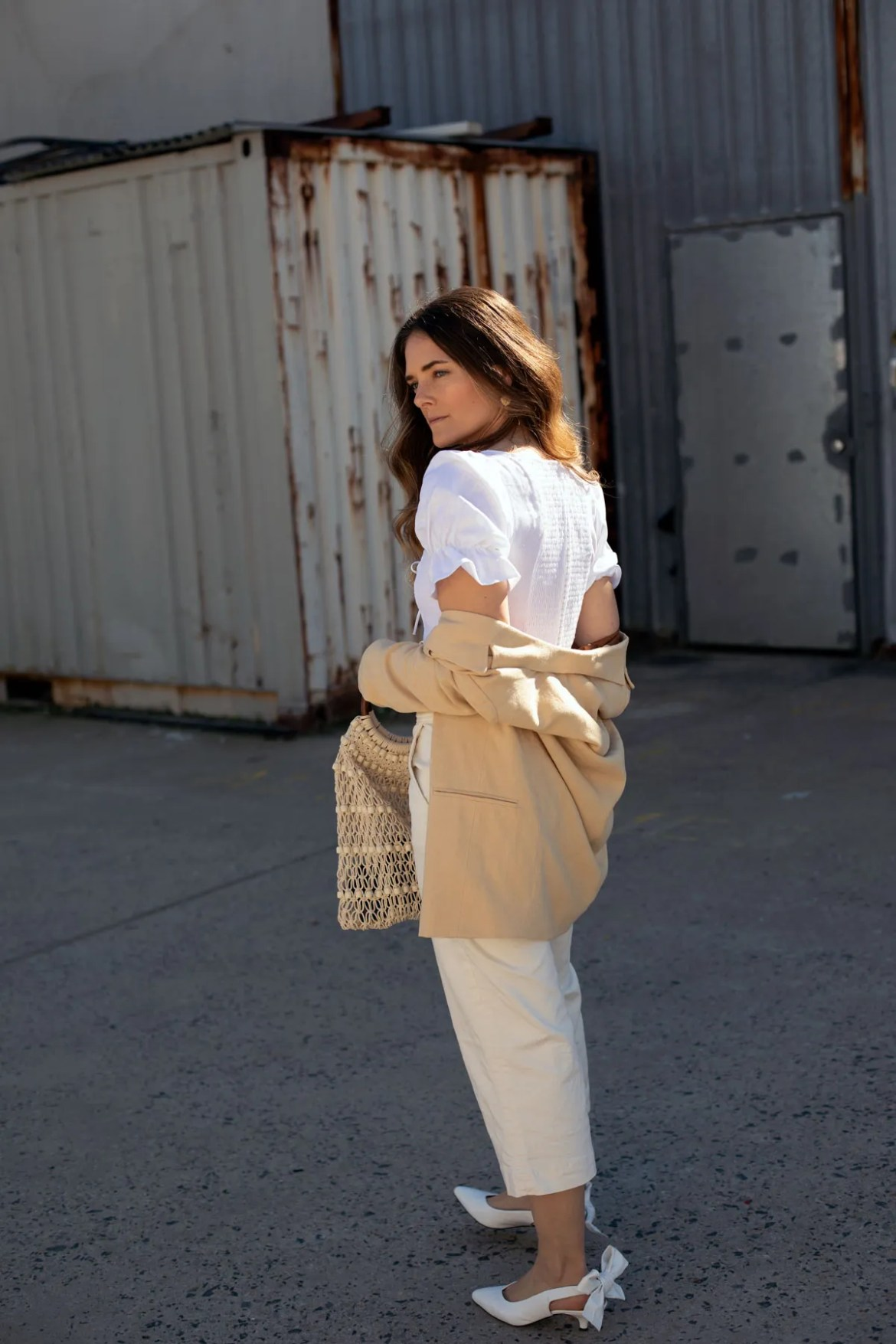 beige and cream outfit idea