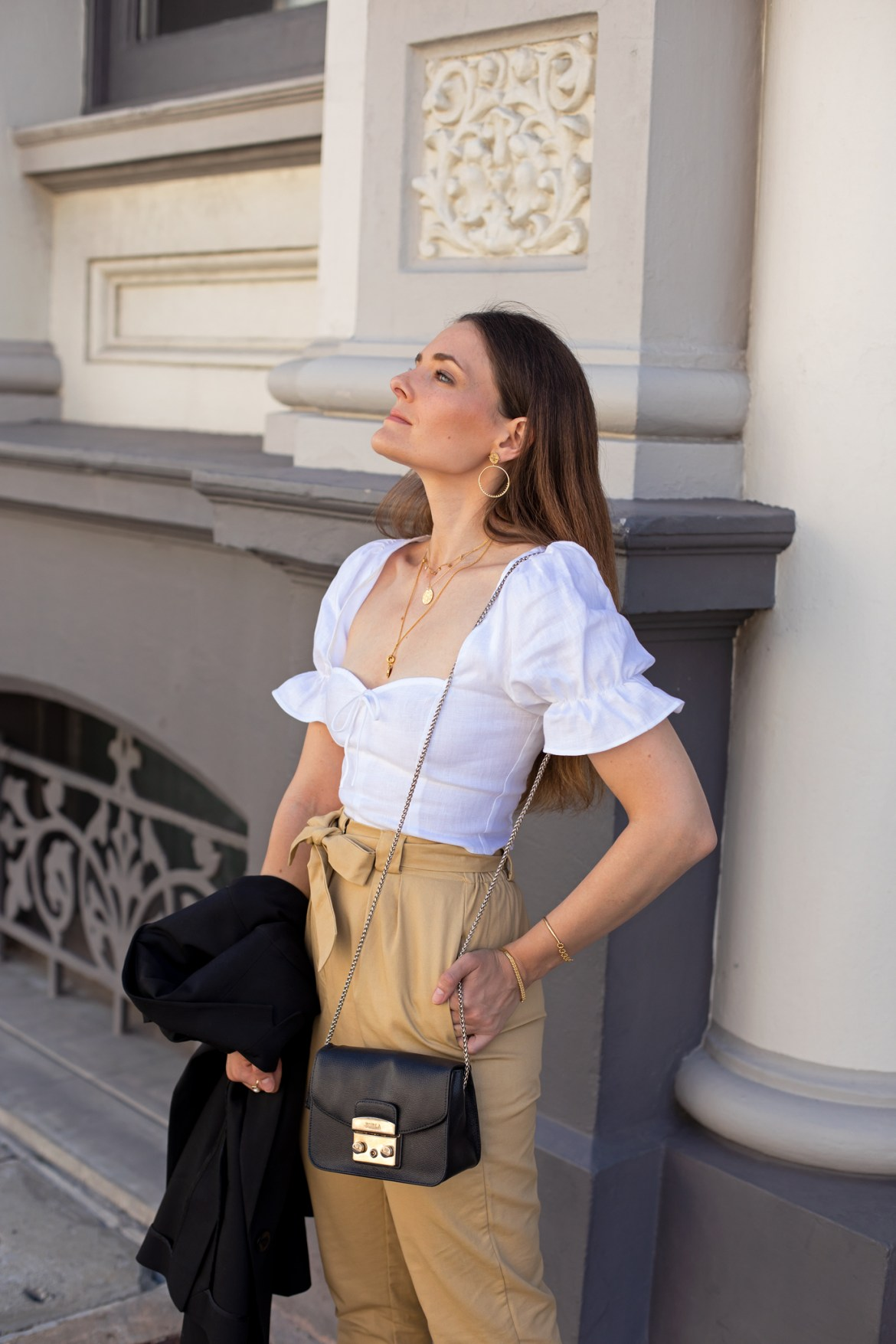 little white linen puff sleeve top on sale chic summer to autumn outfit idea