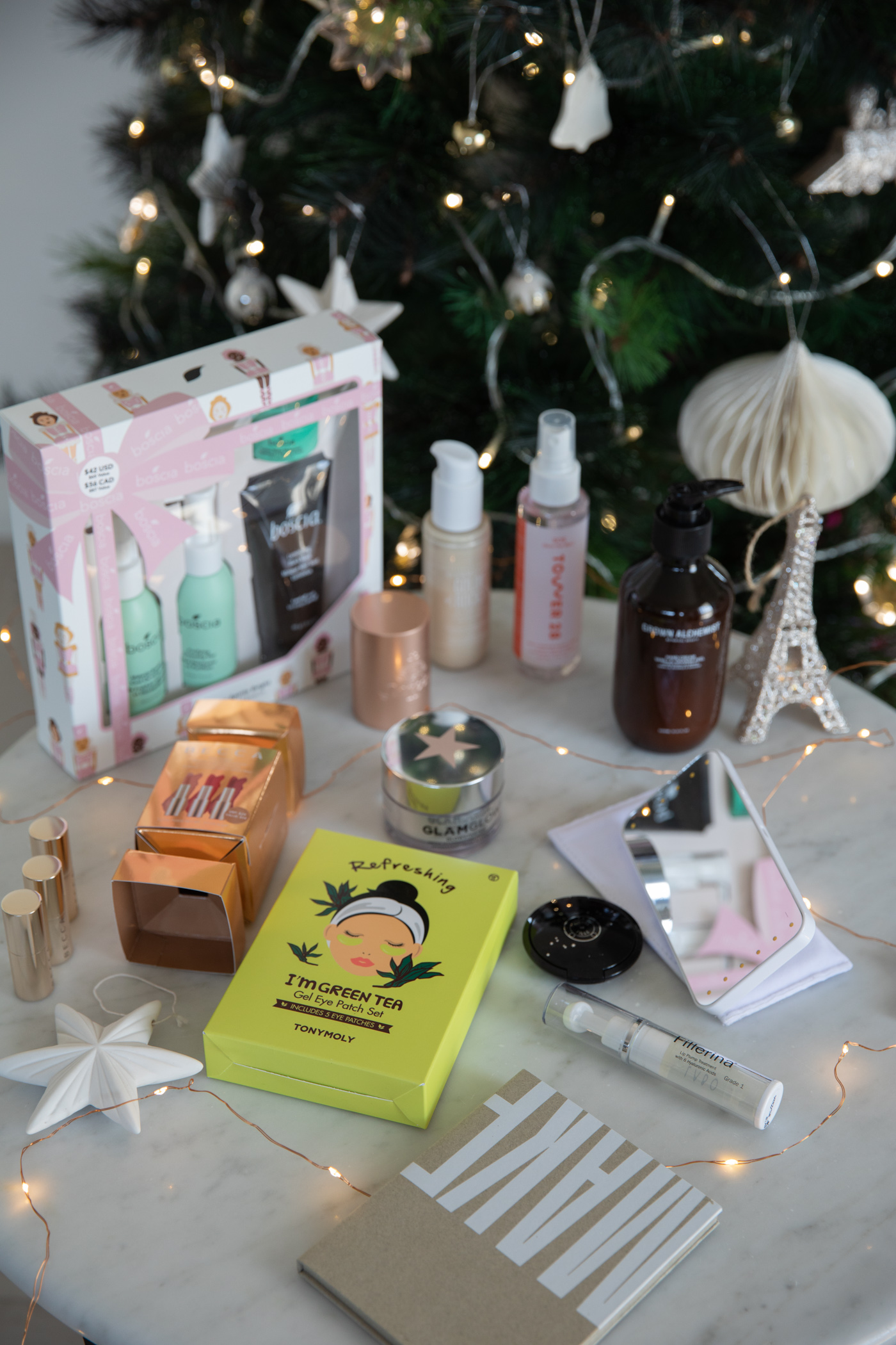 Christmas gift guide with Revolve beauty skincare and makeup bestsellers