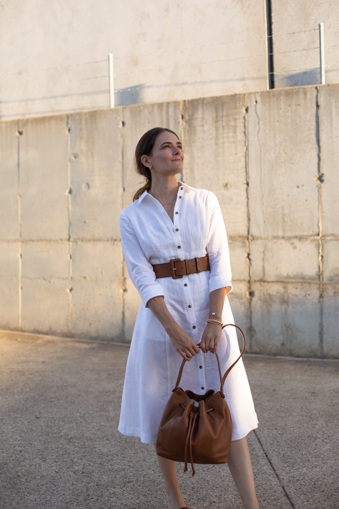 chic at home spring or autumn outfit idea linen white shirt dress from Boden April 2020