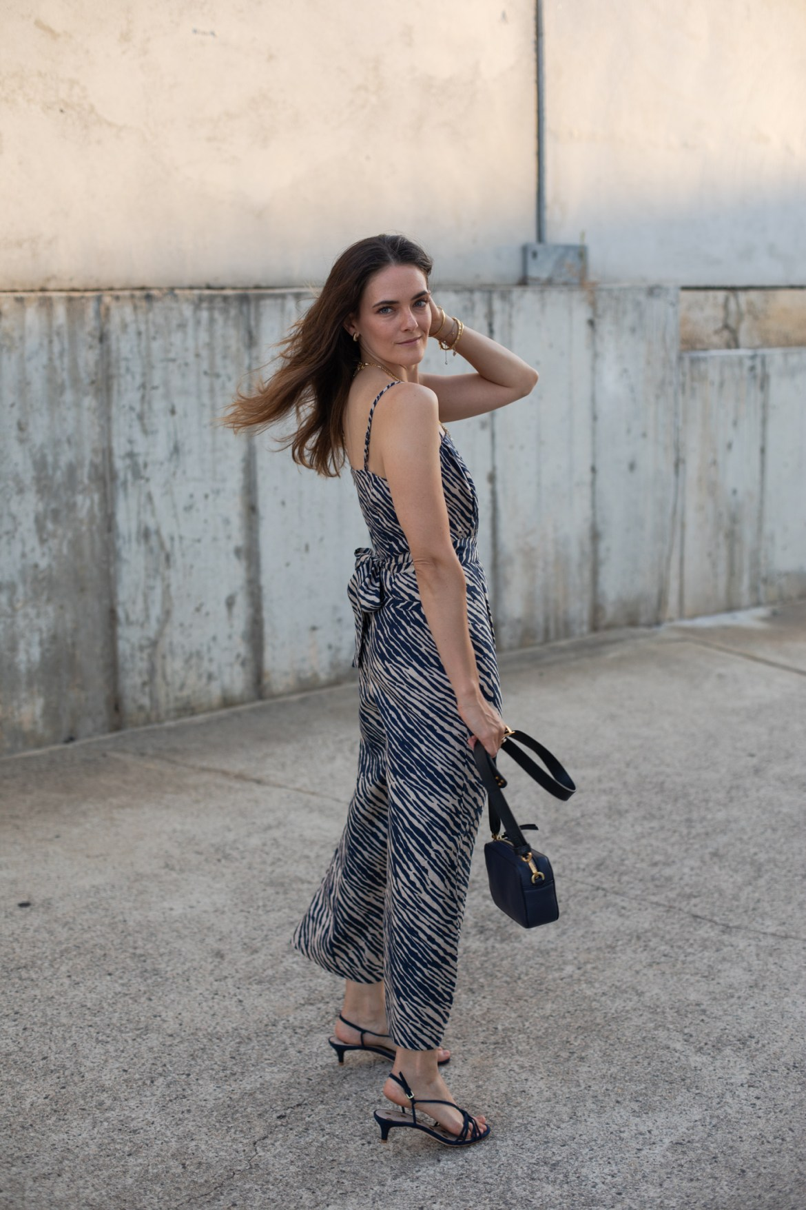 Boden zebra print linen outfit and strappy heels