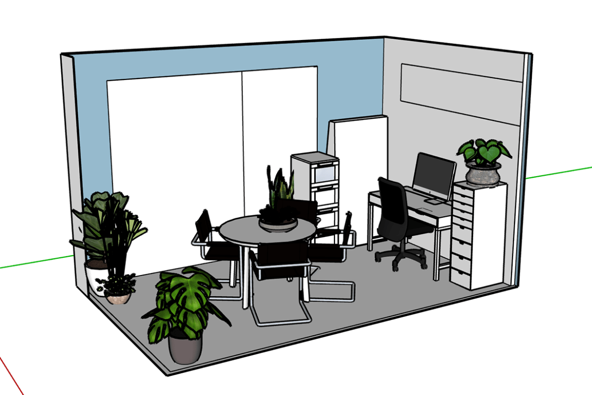 sketchup of our living room and work space