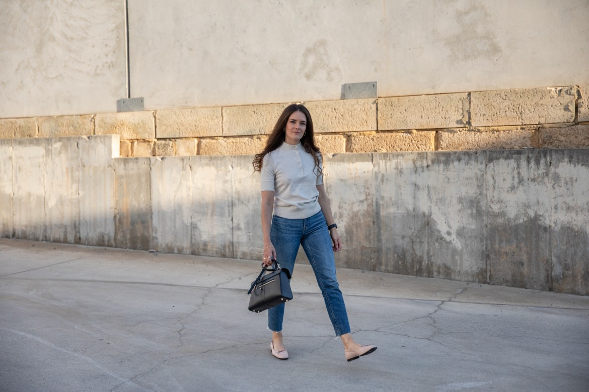 Ballet flats with jeans outfit idea with knit top from Everlane