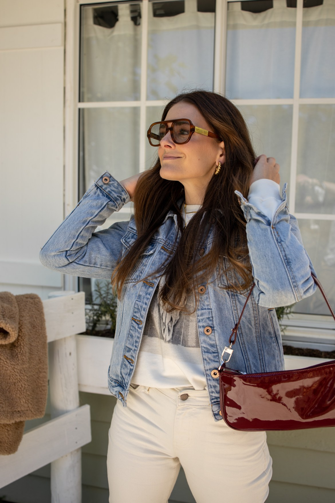 Outfit idea for cold weather. Anine Bing sweater and denim jacket outfit