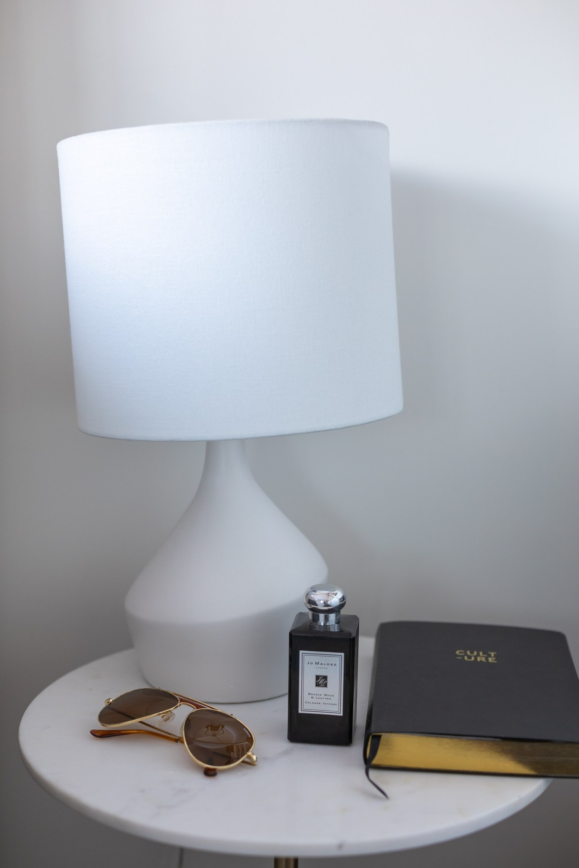 West Elm lamp and marble side table