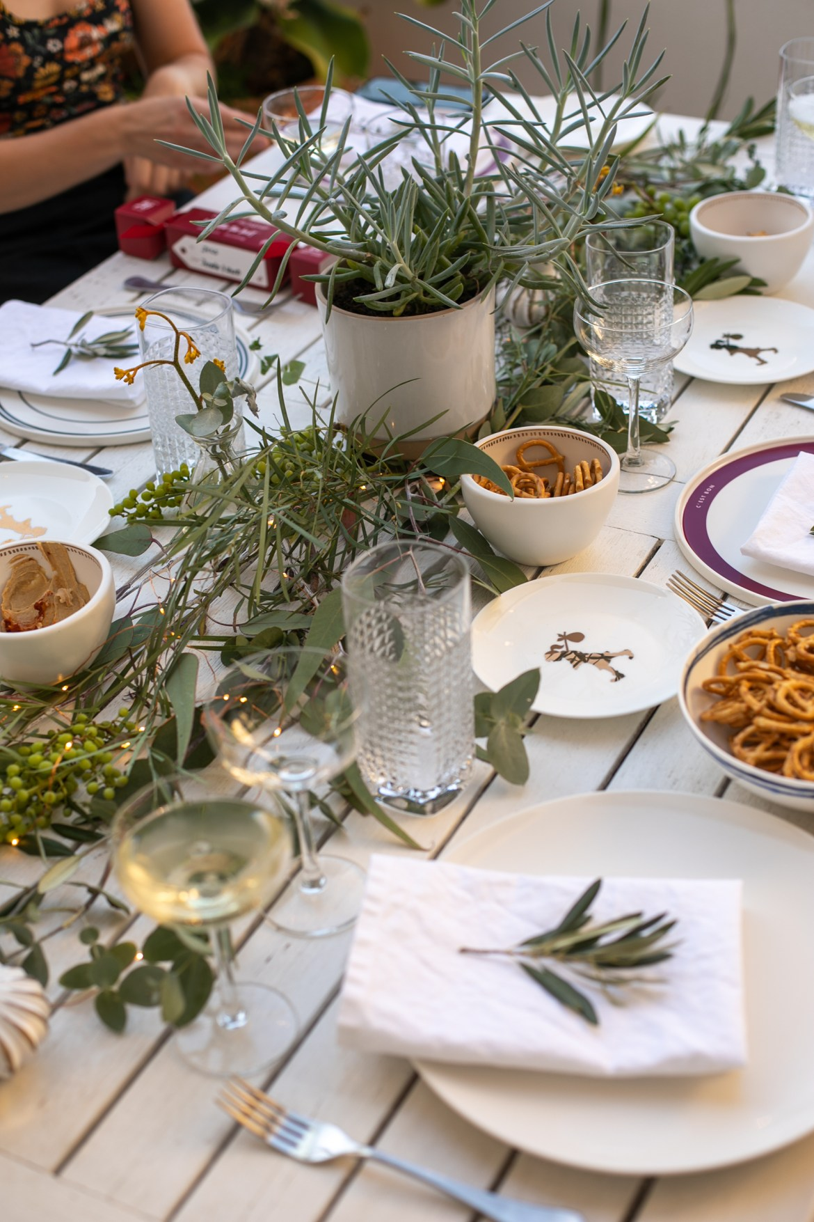 dining table set up at a dinner party