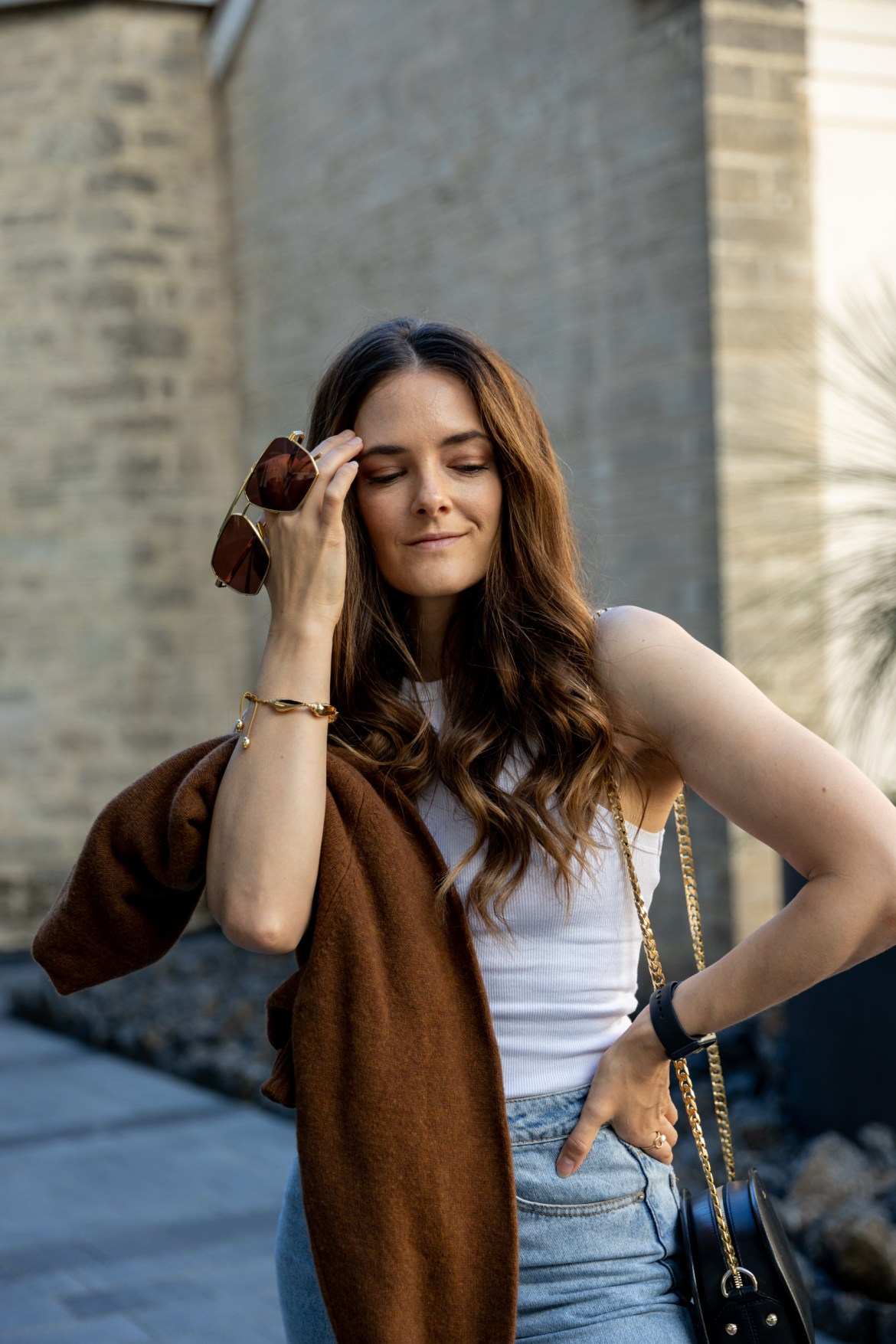 brown knit with white tank top