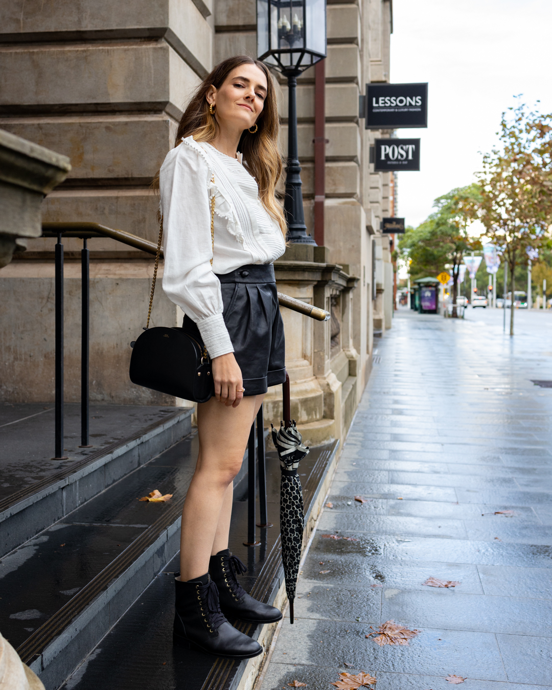 How to style black leather shorts